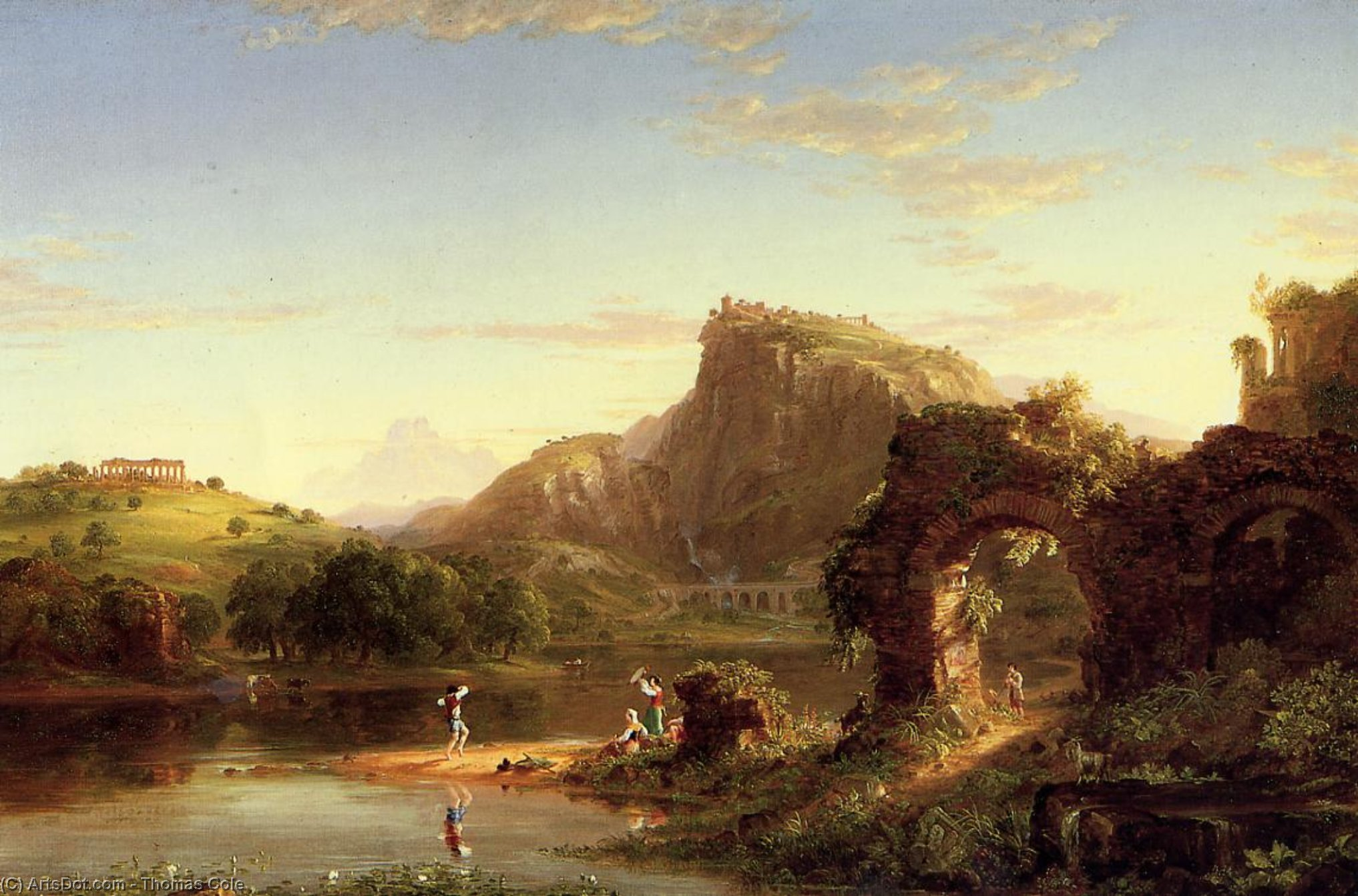 L'Allegro (also known as Italian Sunset), Oil On Canvas by Thomas Cole (1801-1848, United Kingdom)