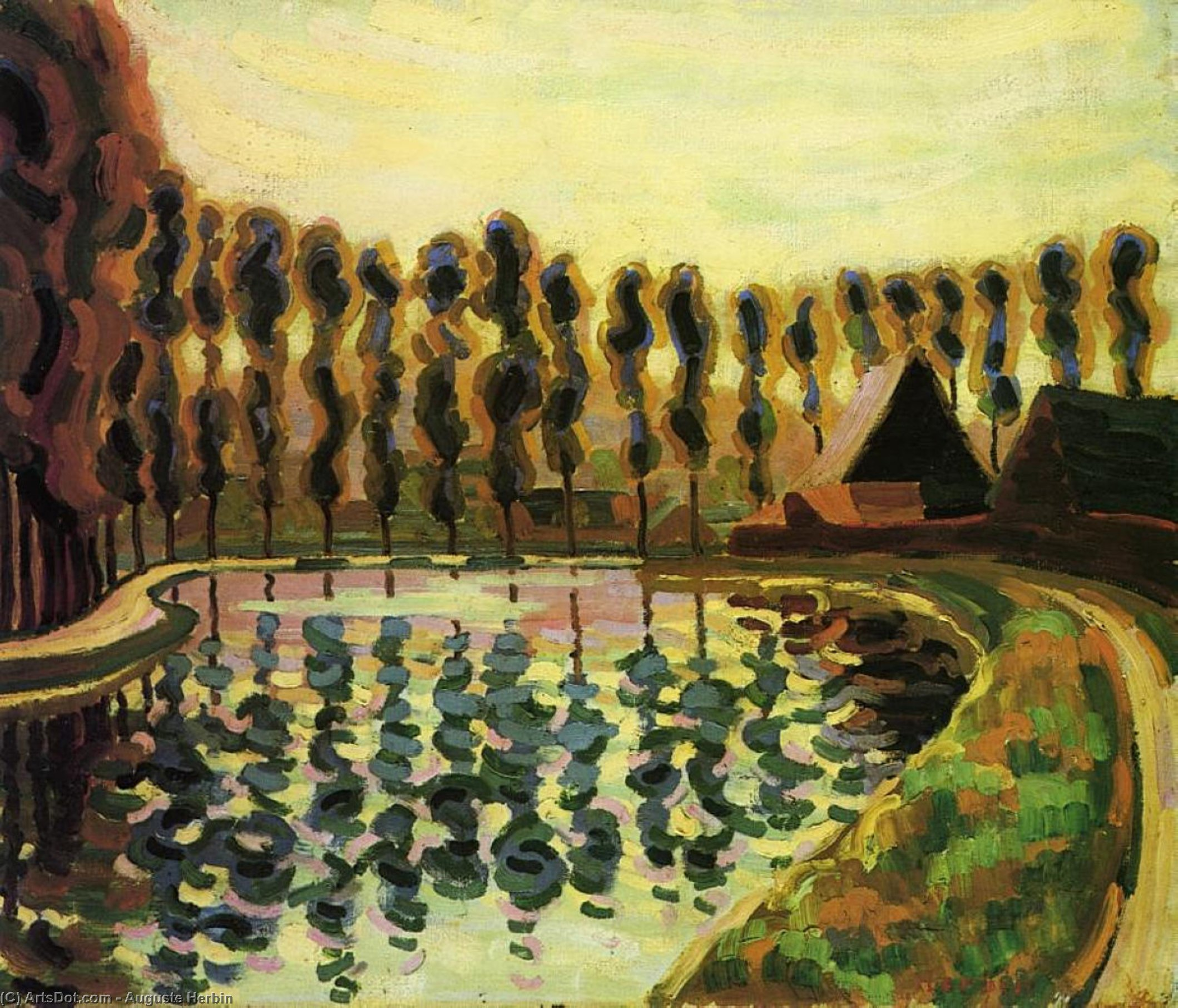 Landscape with Poplars, Oil On Canvas by Auguste Herbin (1882-1960, France)