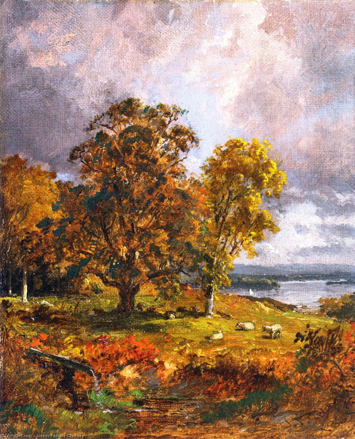 Landscape with Trees, Oil On Canvas by Jasper Francis Cropsey (1823-1900, United States)