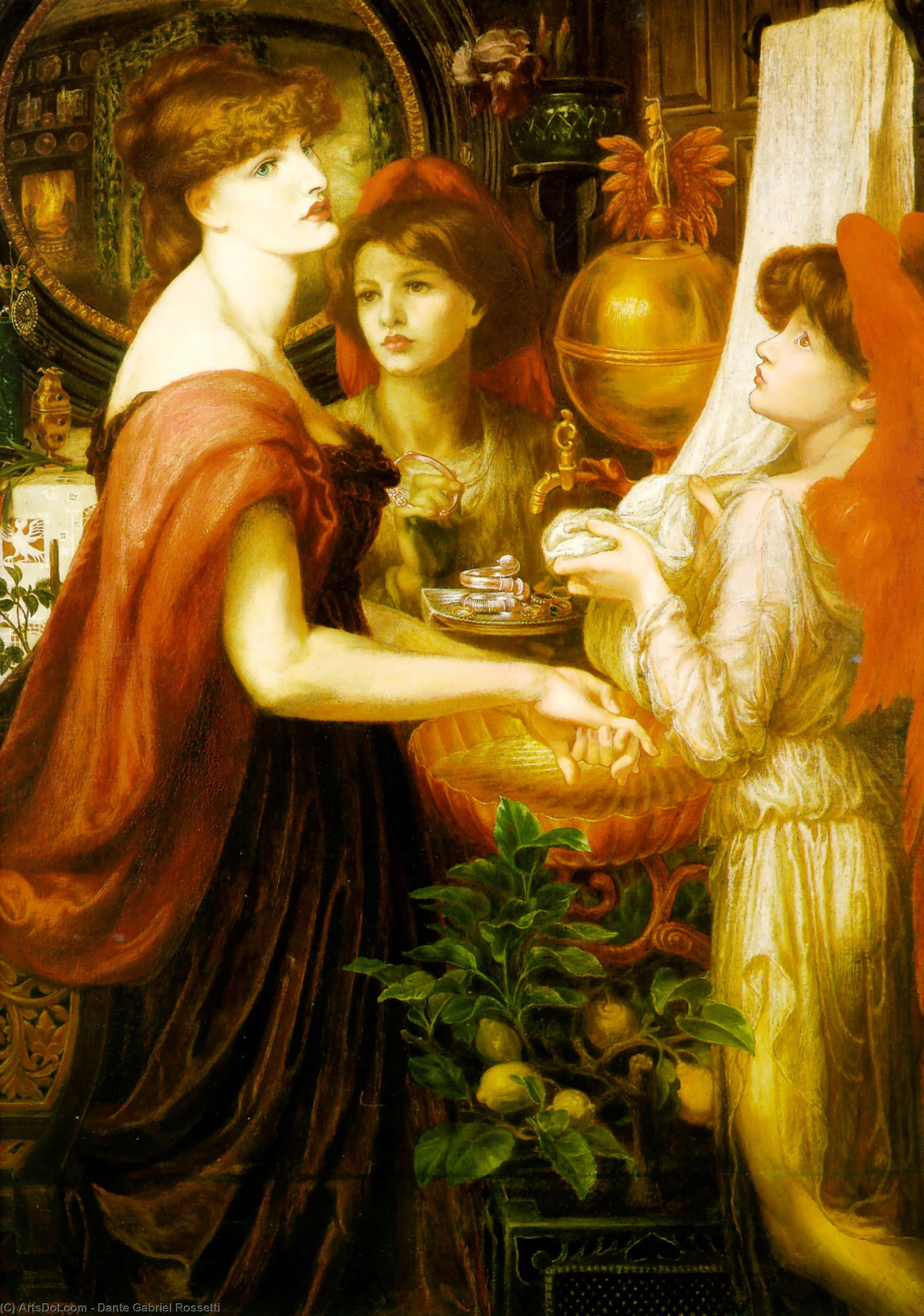 La Bella Mano, Oil On Canvas by Dante Gabriel Rossetti (1828-1882, United Kingdom)