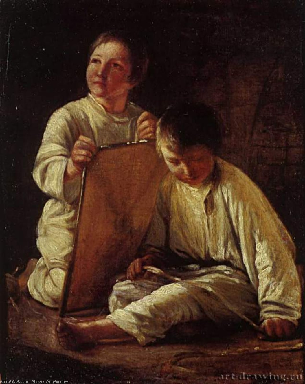 Two Peasant Boy with a kite by Alexey Venetsianov (1780-1847, Russia)