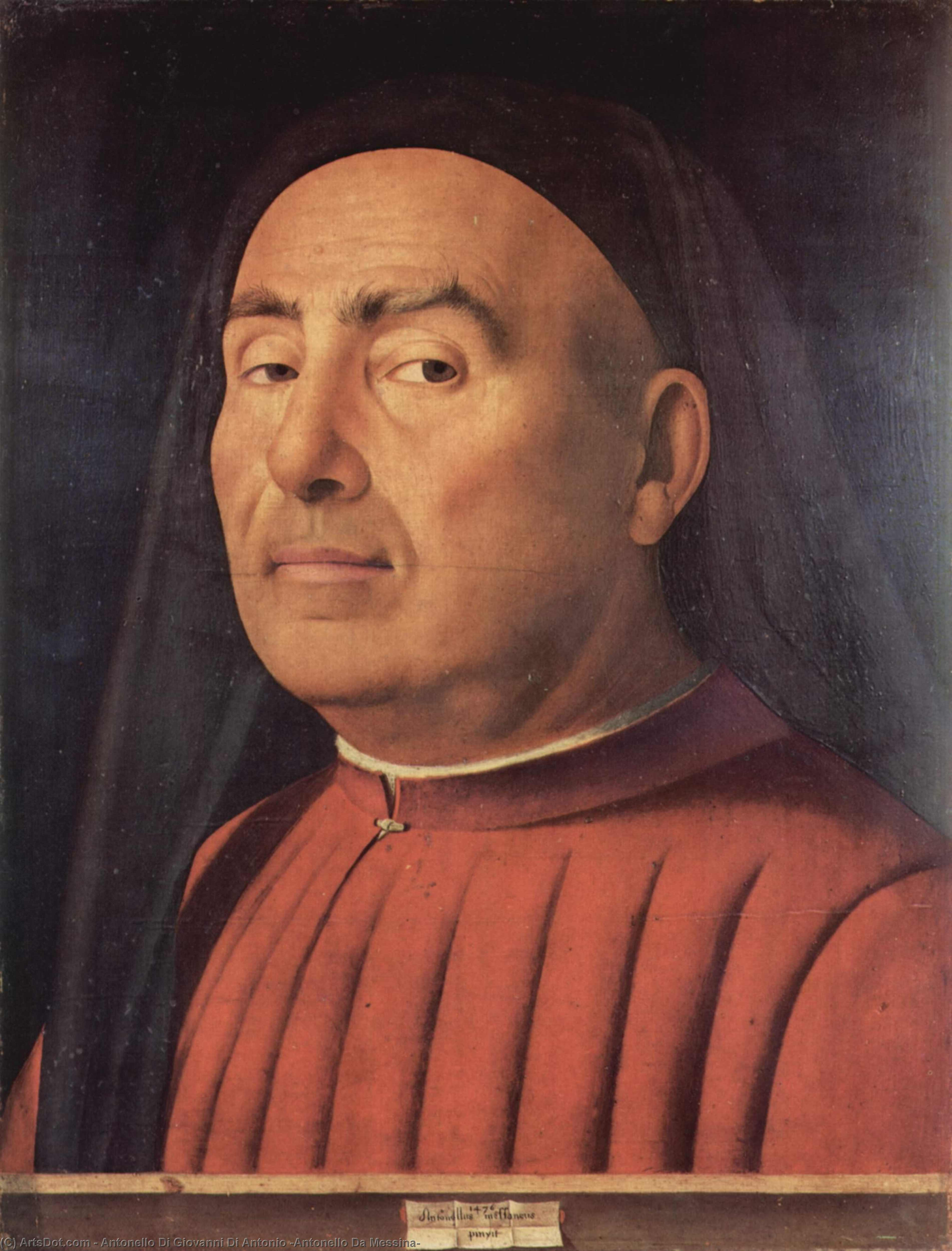 Portrait of a Man (Trivulzio portrait), Oil On Panel by Antonello Di Giovanni Di Antonio (Antonello Da Messina) (1430-1479, Italy)