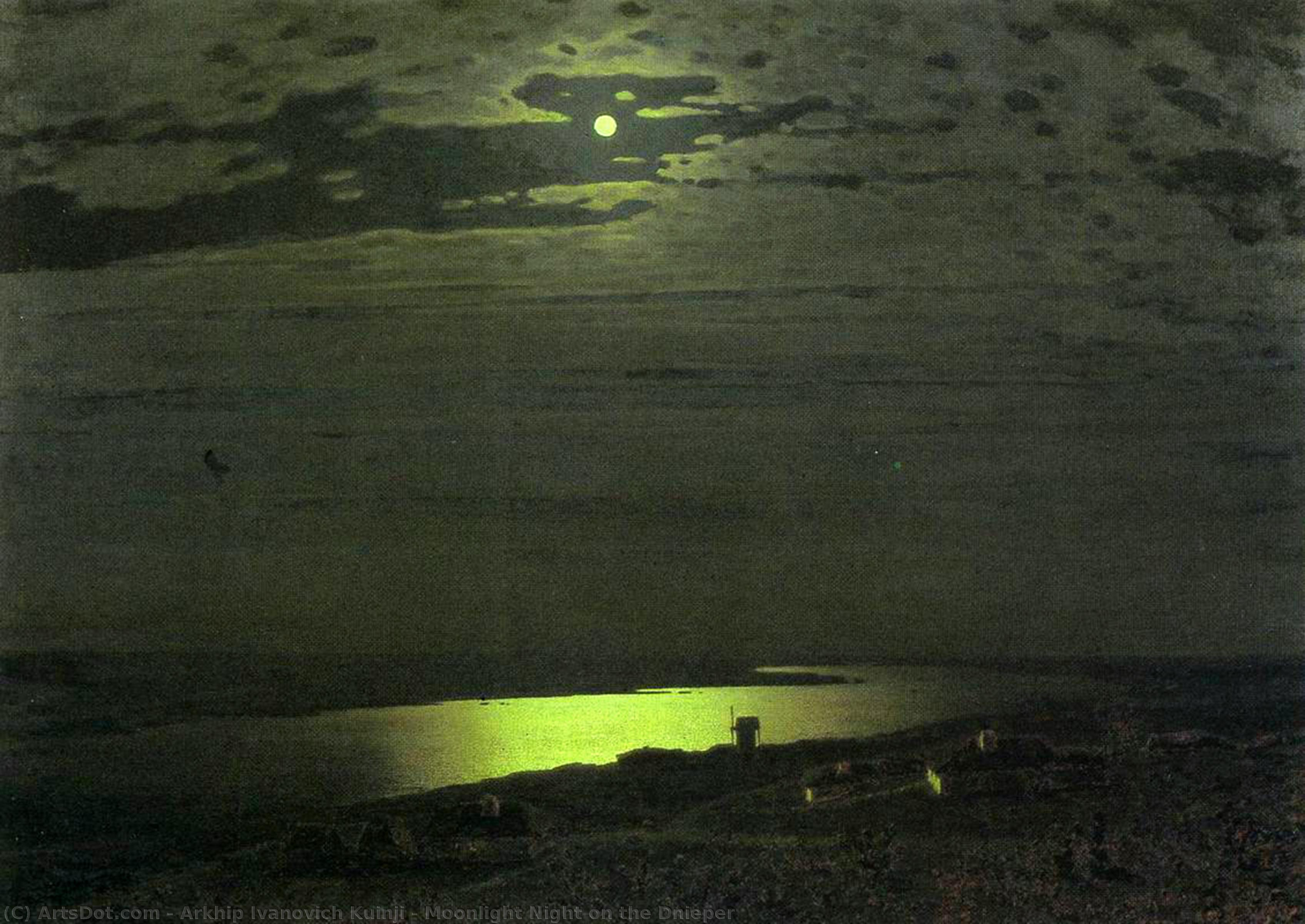 Moonlight Night on the Dnieper, 1880 by Arkhip Ivanovich Kuinji (1842-1910, Russia) | Paintings Reproductions Arkhip Ivanovich Kuinji | ArtsDot.com