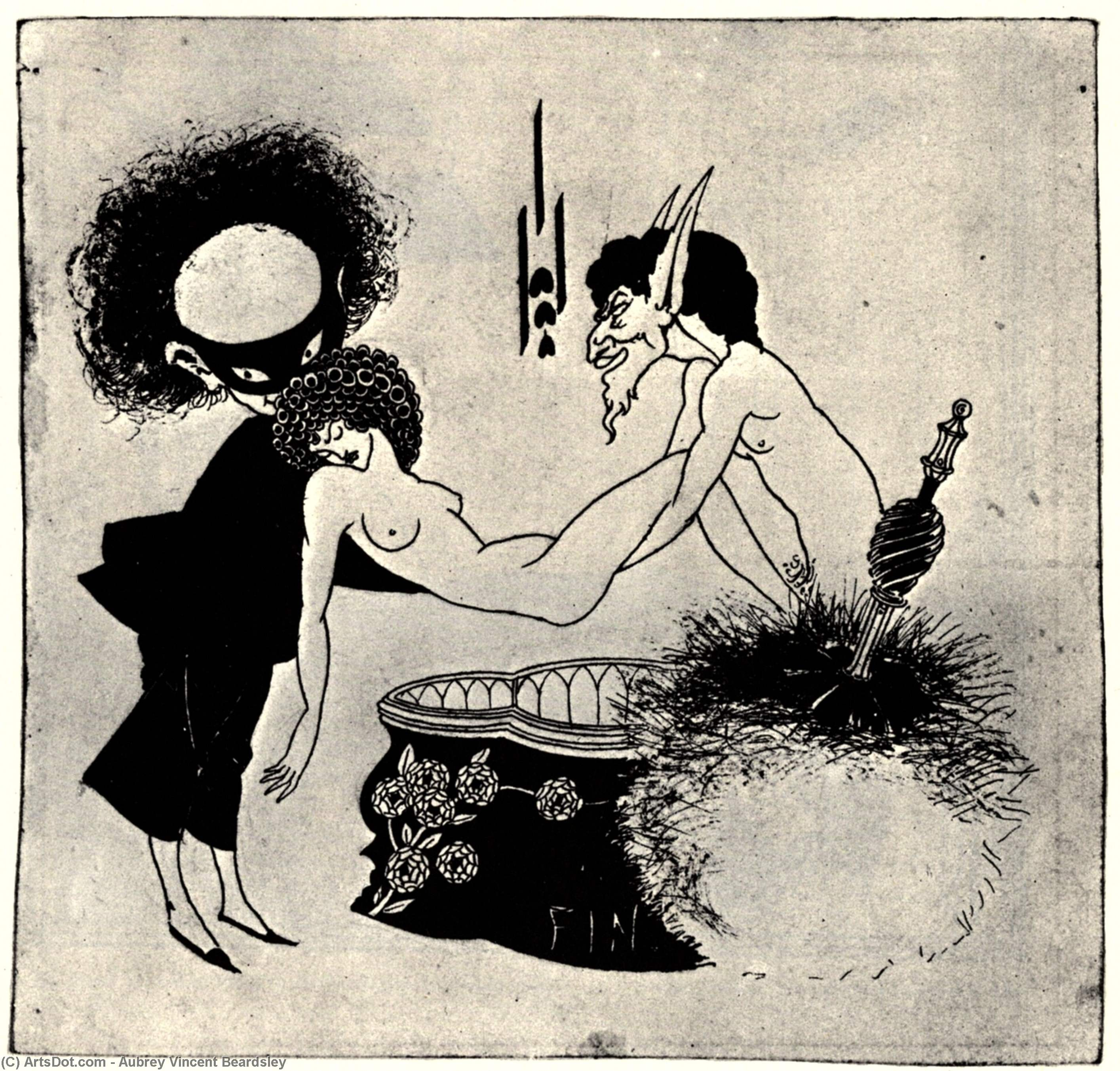 The Burial of Salome by Aubrey Vincent Beardsley (1872-1898, United Kingdom) | Museum Art Reproductions Aubrey Vincent Beardsley | ArtsDot.com