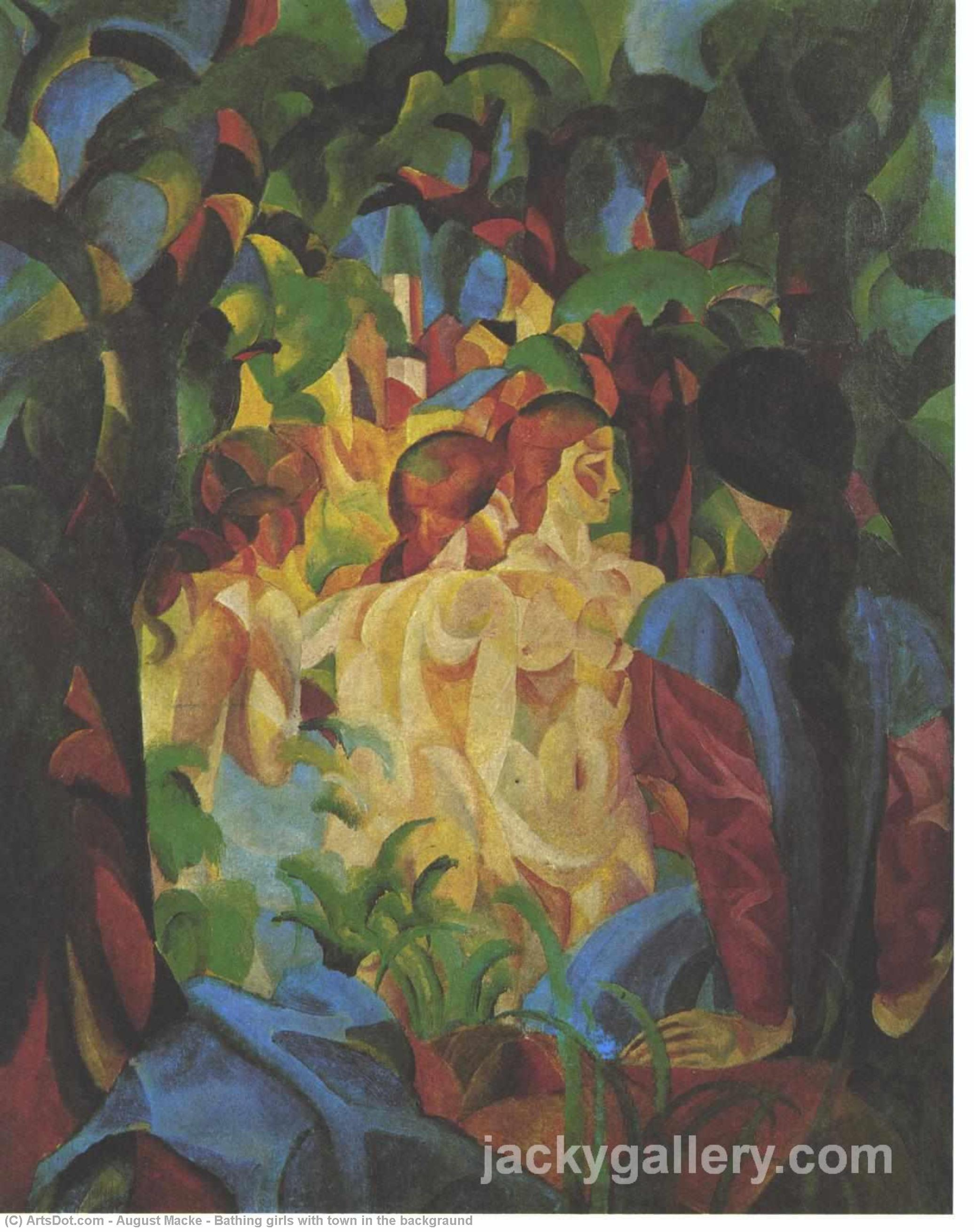 Bathing girls with town in the backgraund, 1913 by August Macke (1887-1914, Germany) | Museum Quality Copies August Macke | ArtsDot.com