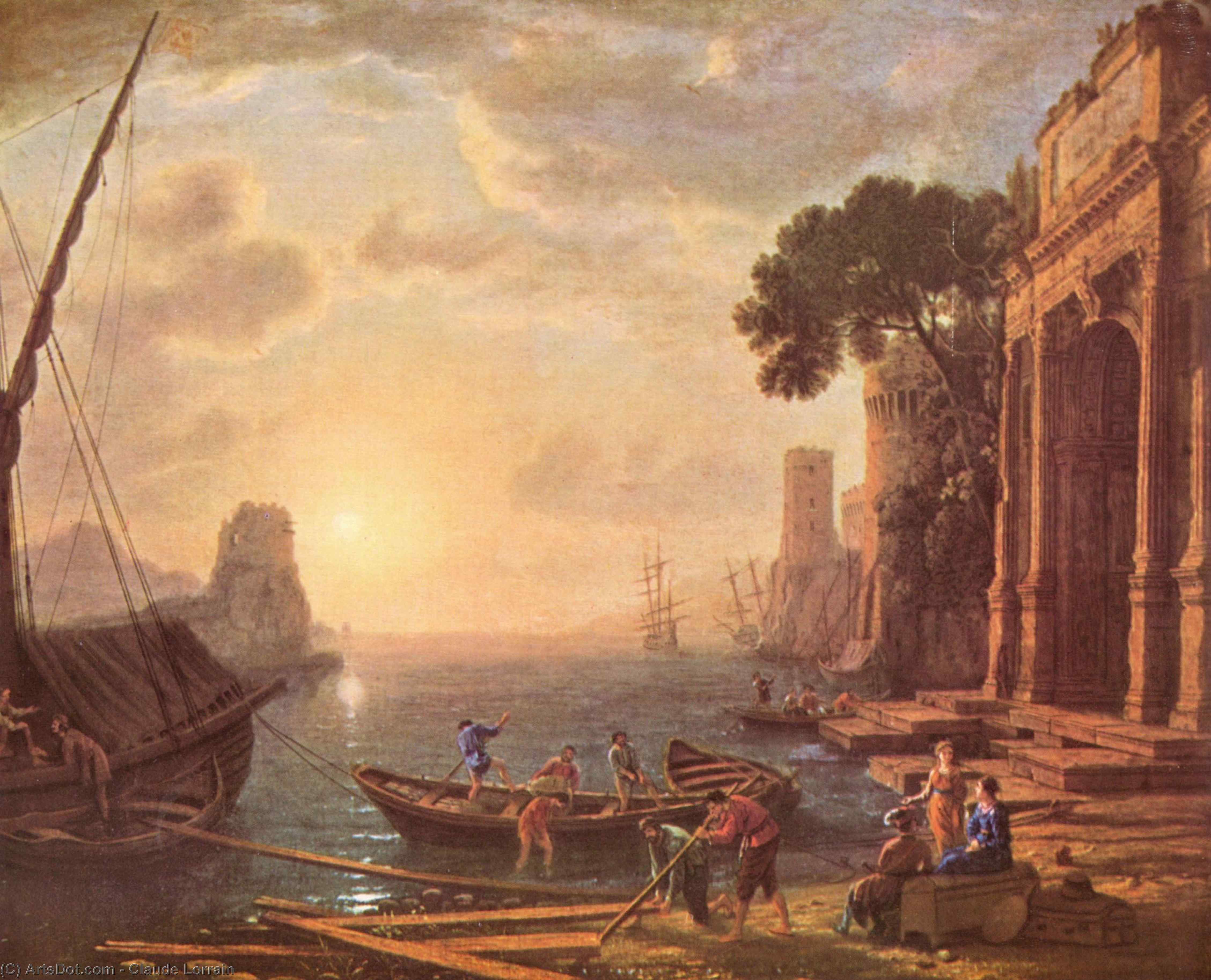Port at sunset, Oil On Canvas by Claude Lorrain (Claude Gellée)