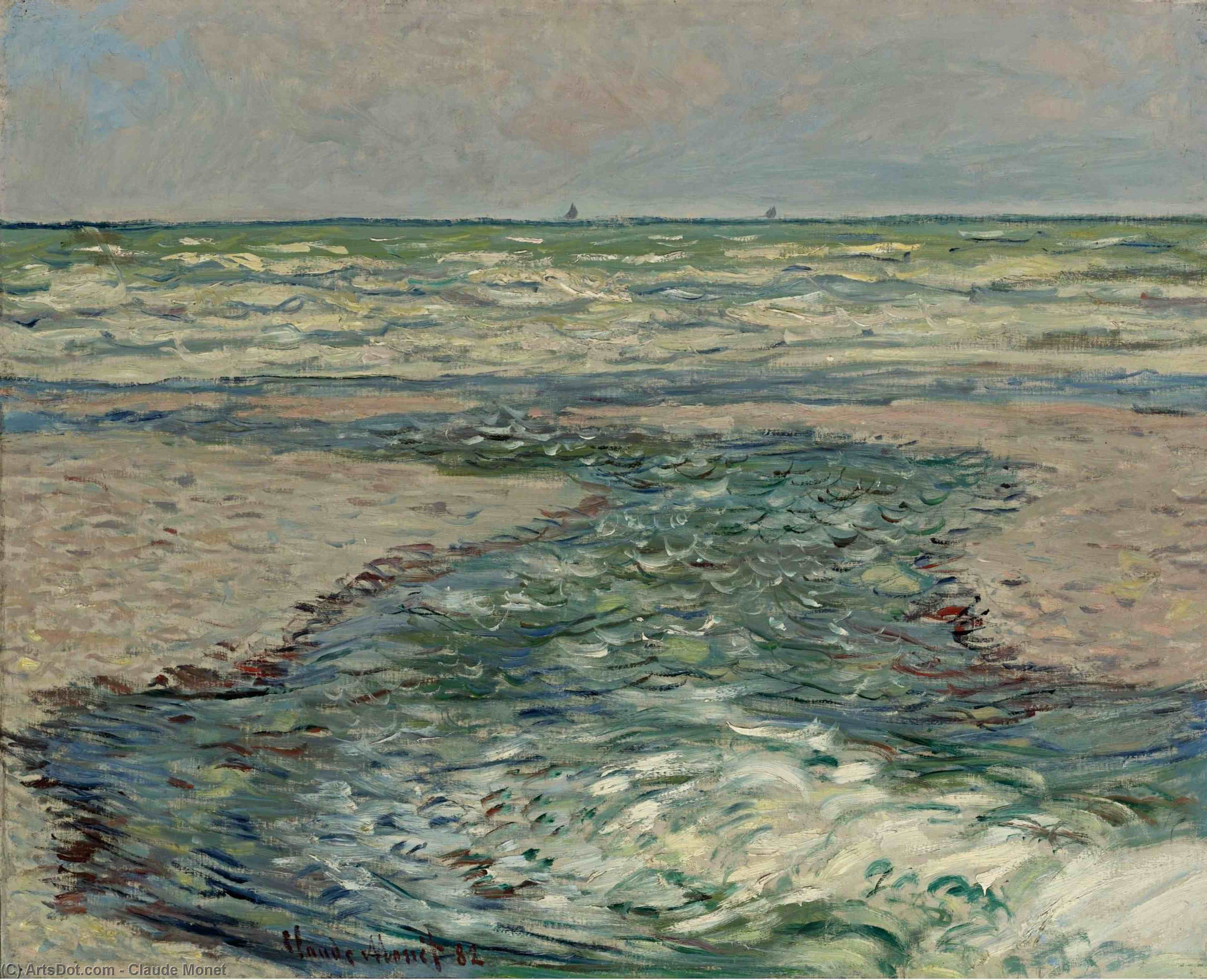 The Seacoast of Pourville, Low Tide, 1882 by Claude Monet (1840-1926, France) | Oil Painting | ArtsDot.com
