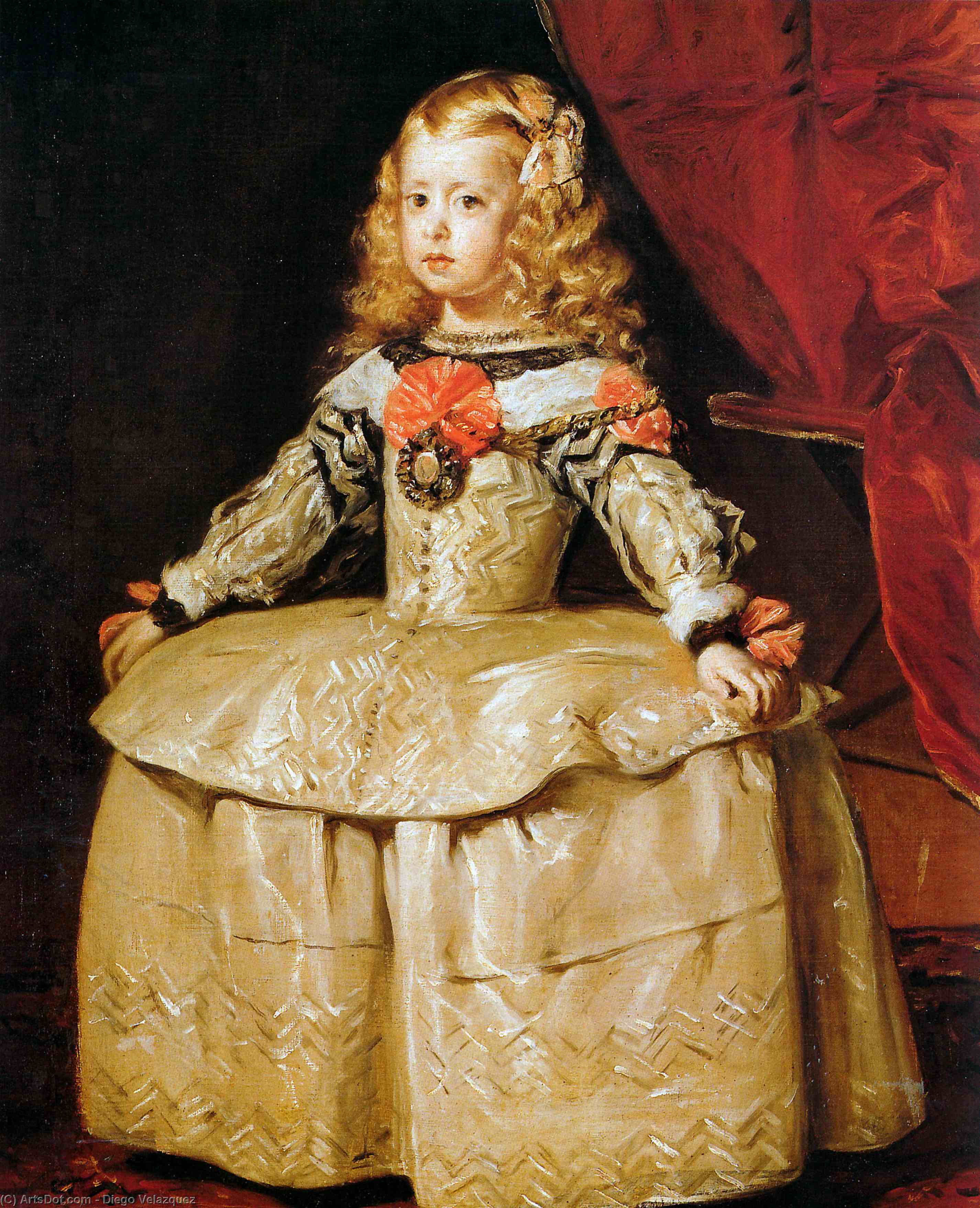 Portrait of the Infanta Margarita Aged Five, Oil On Canvas by Diego Velazquez (1599-1660, Spain)