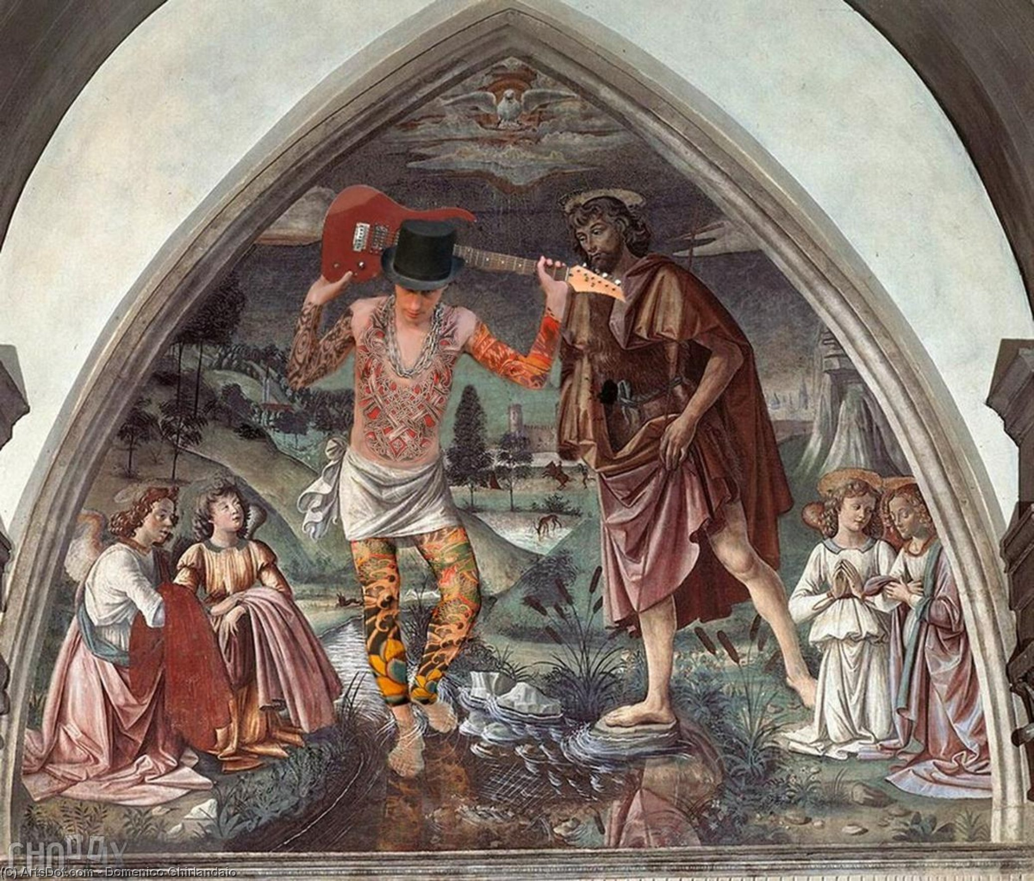 Baptism of Christ, Frescoes by Domenico Ghirlandaio (1449-1494, Italy)