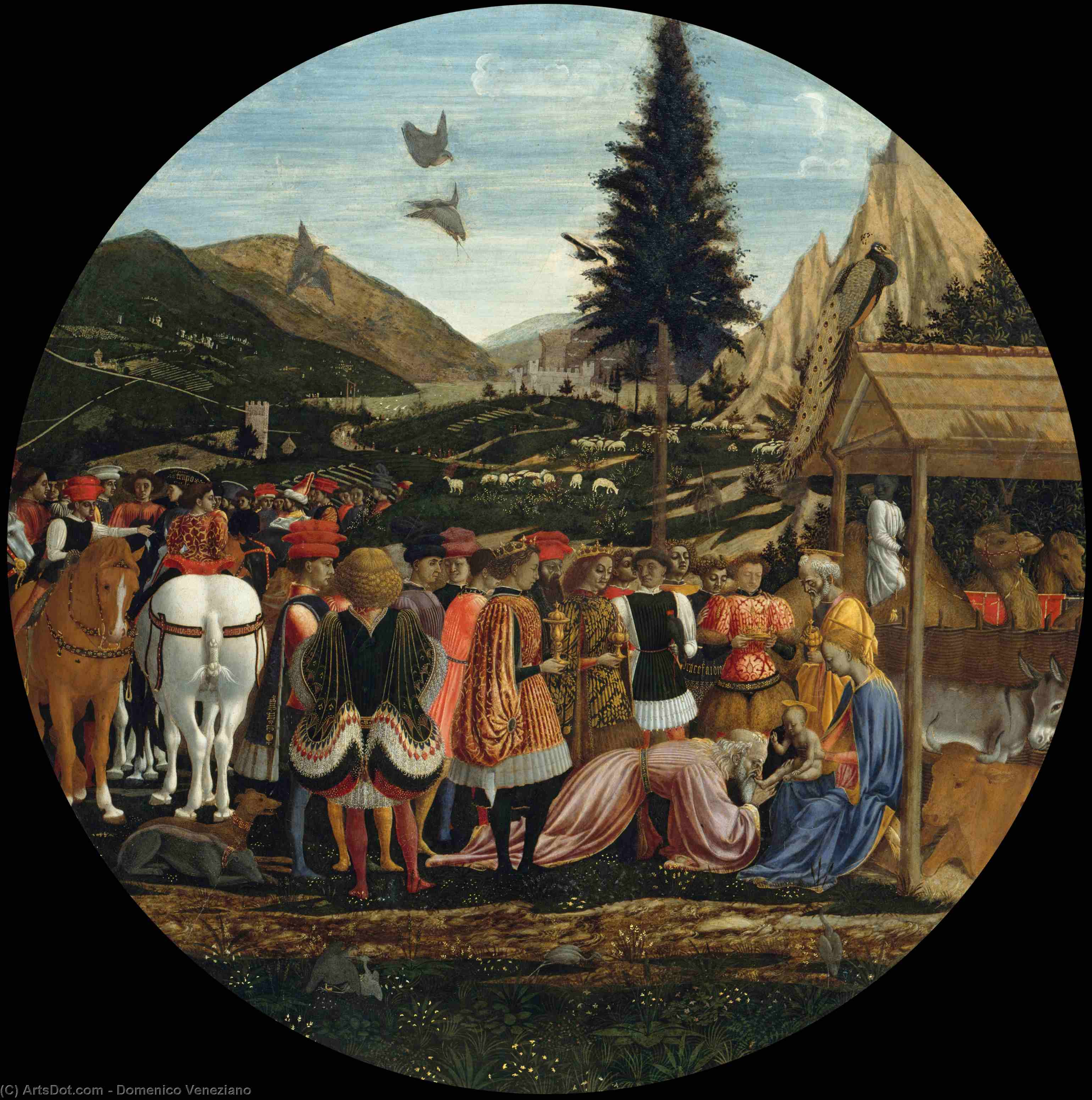 The Adoration of the Magi, Oil by Domenico Veneziano (1410-1461, Italy)