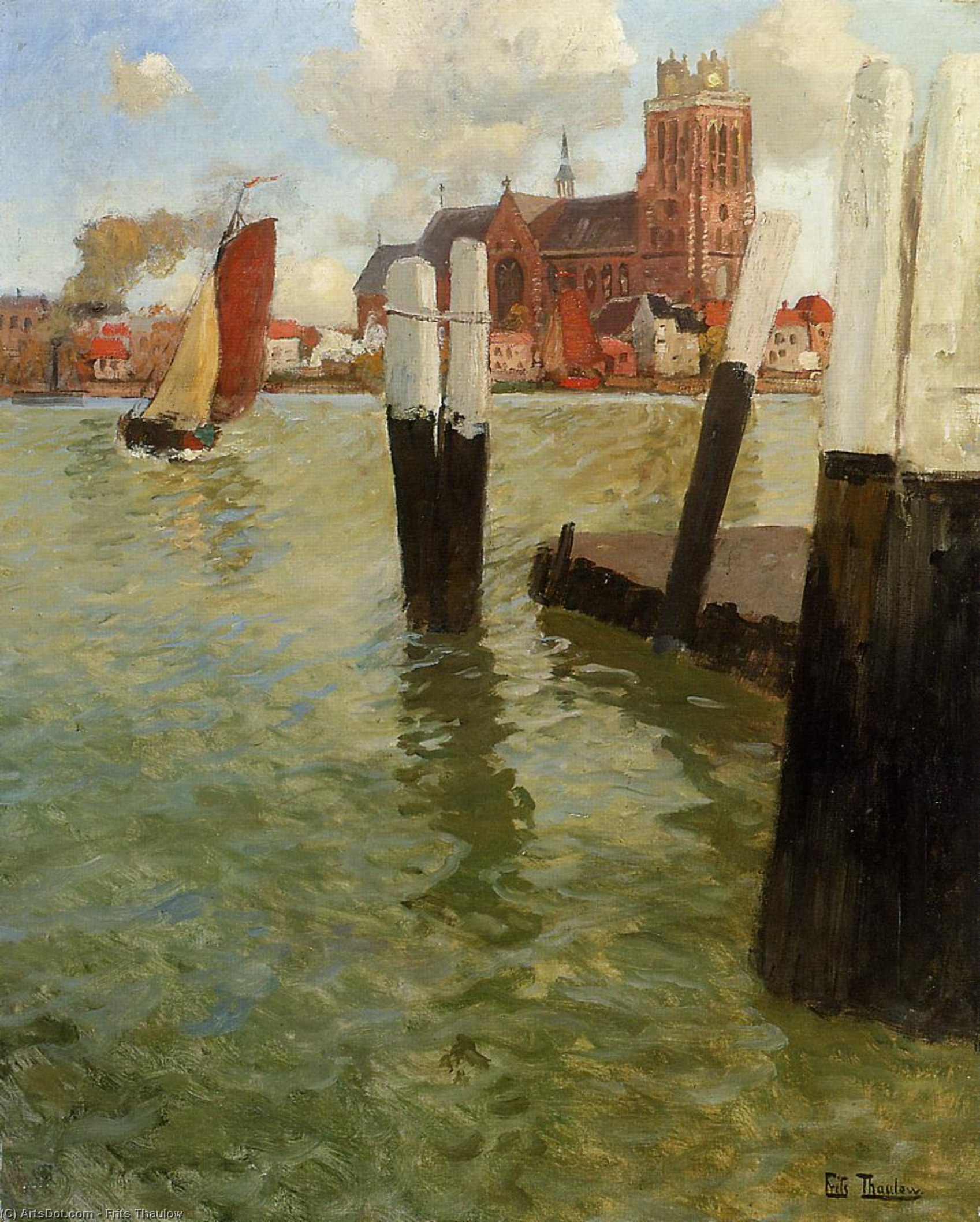 The Pier, Dordrecht, 1905 by Frits Thaulow (1847-1906, Norway) | ArtsDot.com