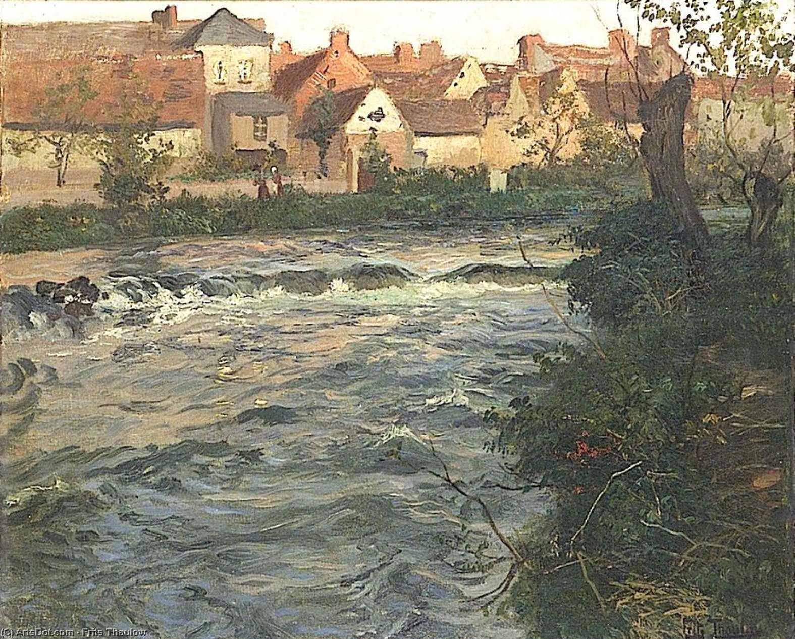 Landscape and River by Frits Thaulow (1847-1906, Norway)