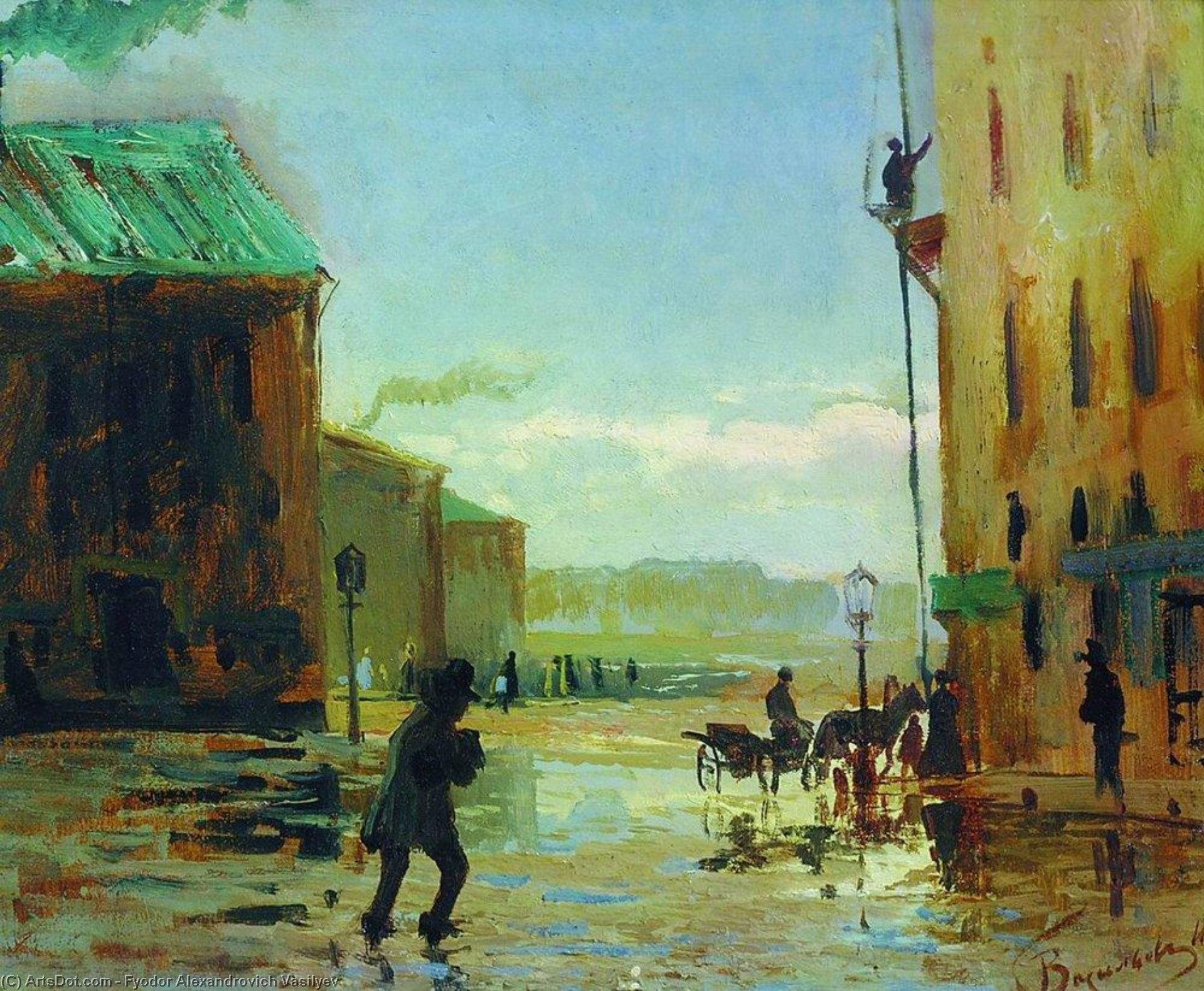 After a Rain (Spring in St. Petersburg), Oil by Fyodor Alexandrovich Vasilyev (1850-1873, Russia)