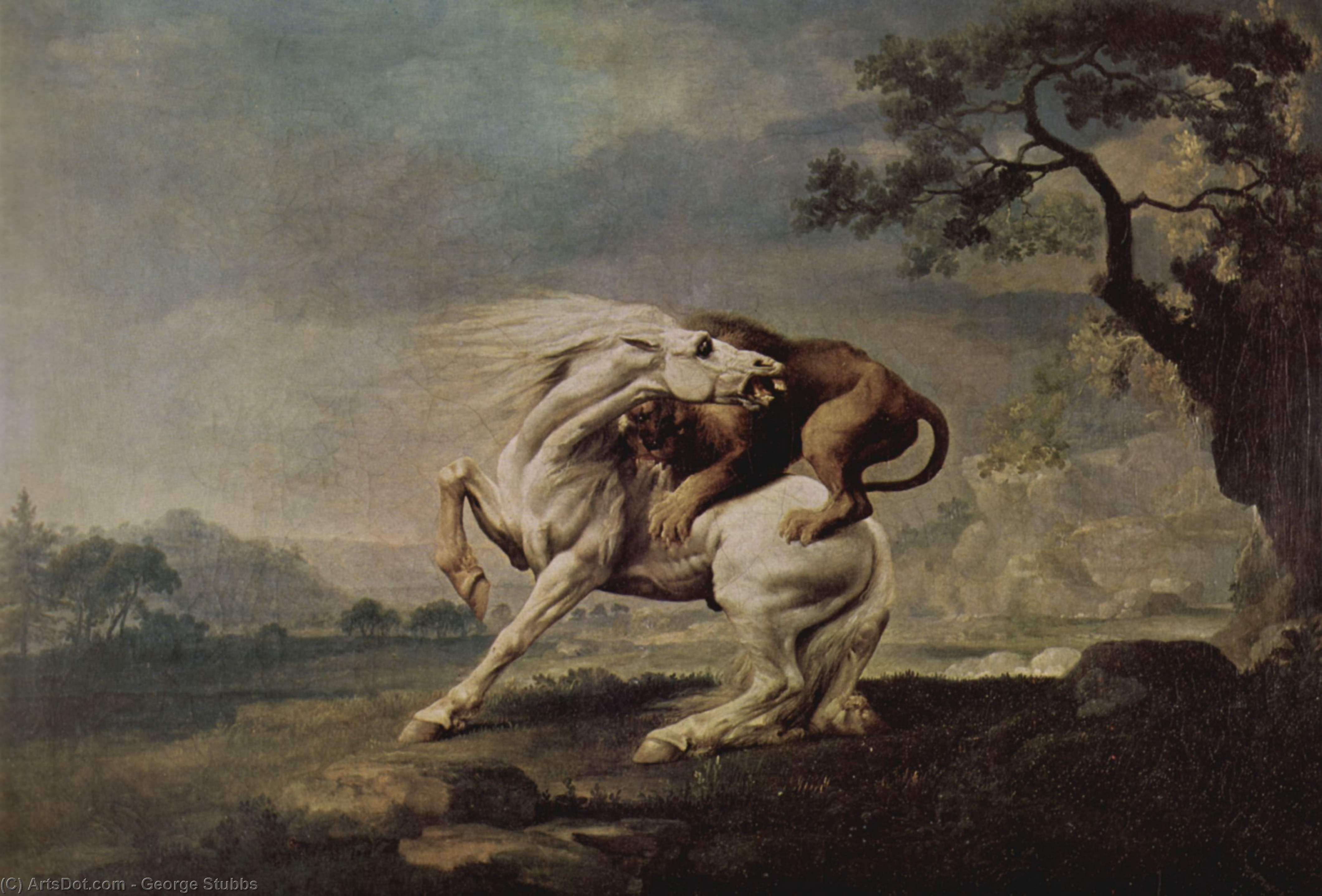 Lion Attacking a Horse, 1765 by George Stubbs (1724-1806, United Kingdom) | Paintings Reproductions George Stubbs | ArtsDot.com