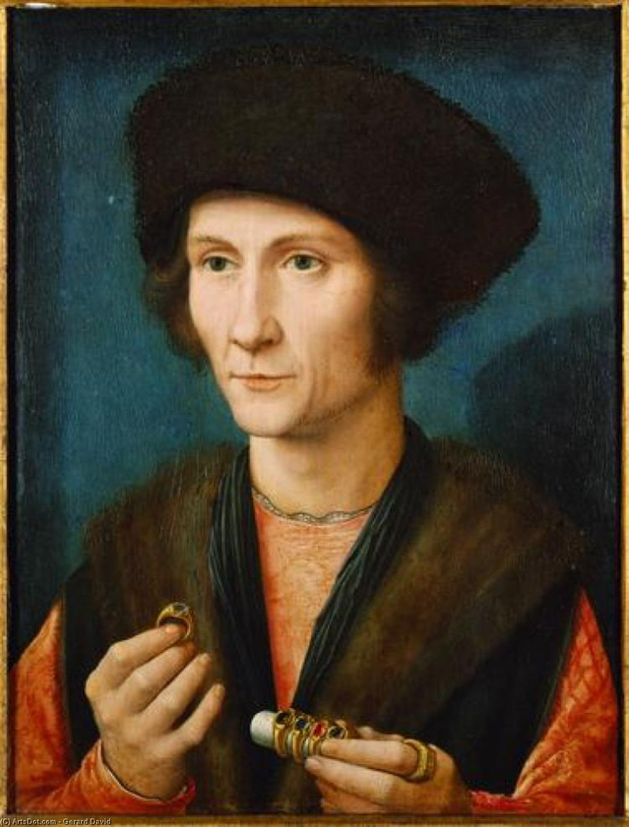 Portrait of a Goldsmith, 1510 by Gerard David (1450-1523, Netherlands) | Museum Art Reproductions | ArtsDot.com