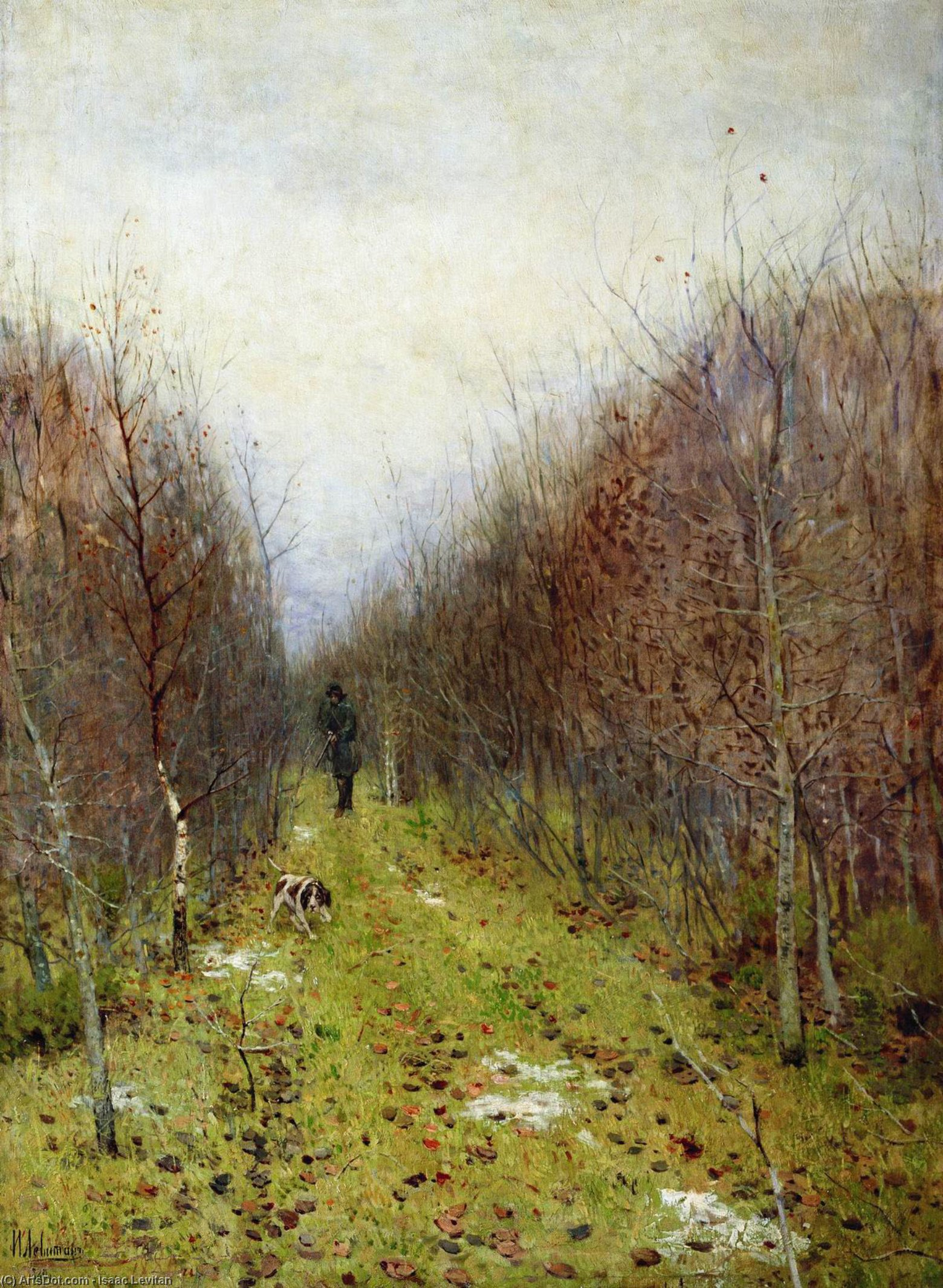 Order Reproductions | Autumn landscape with hunter, 1880 by Isaak Ilyich Levitan (1860-1900, Russia) | ArtsDot.com