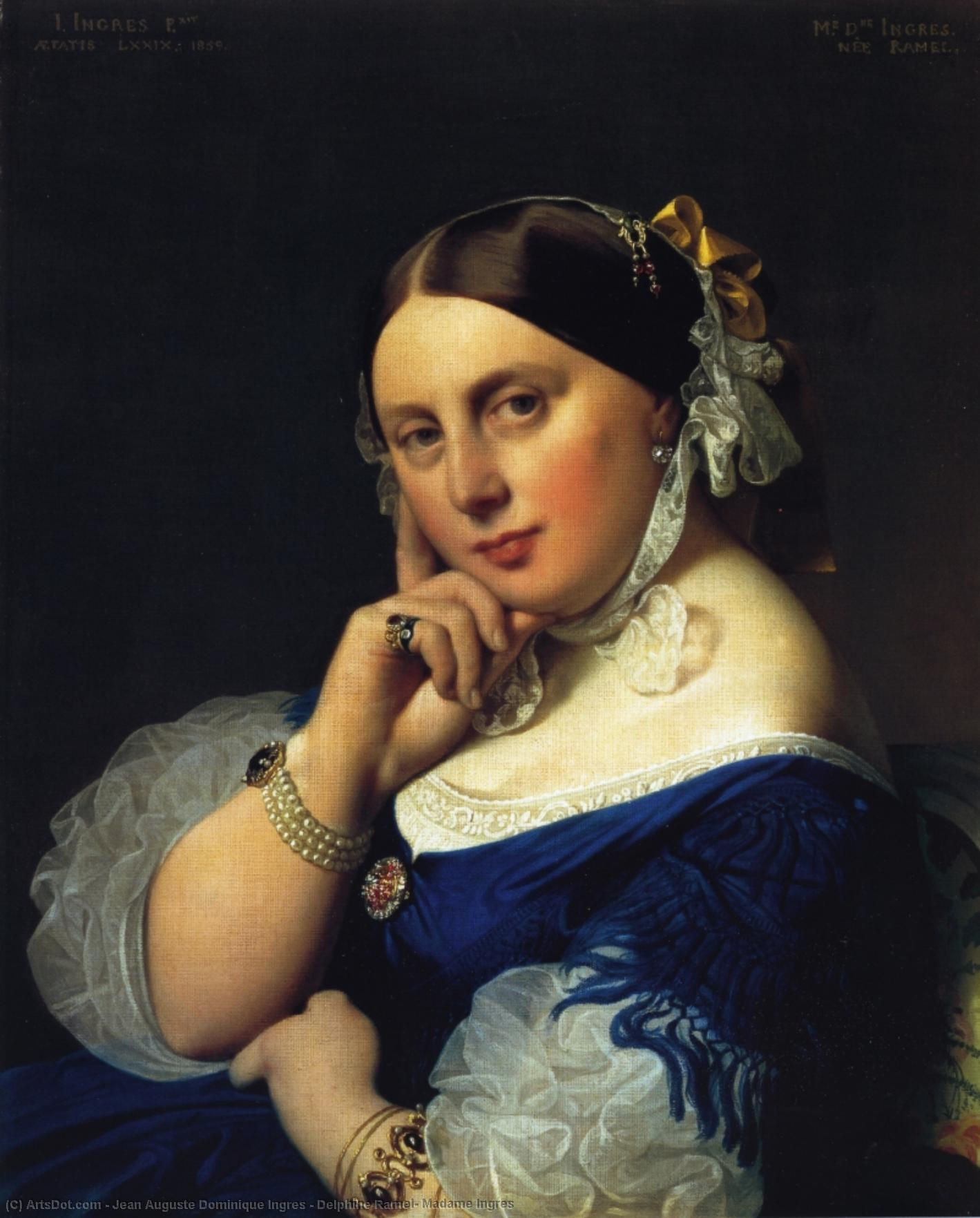 Delphine Ramel, Madame Ingres, 1859 by Jean Auguste Dominique Ingres (1780-1867, France) | Museum Quality Copies Jean Auguste Dominique Ingres | ArtsDot.com