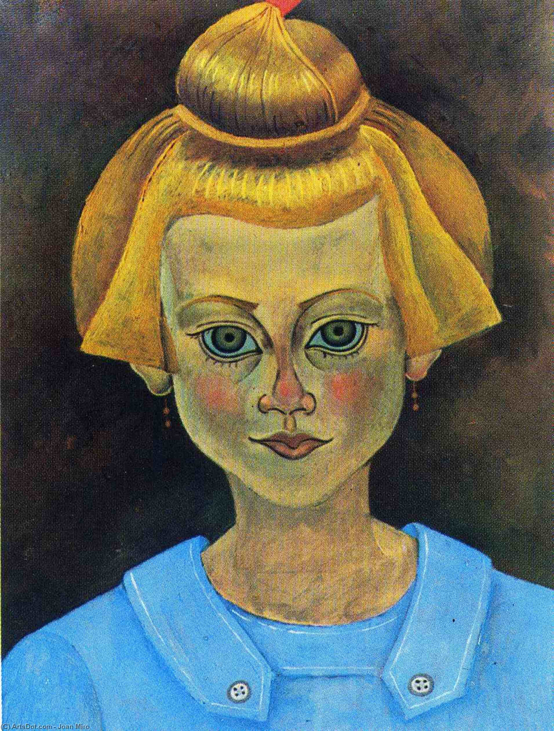 Portrait of a Young Girl, 1915 by Joan Miro (1893-1937, Spain) | Painting Copy | ArtsDot.com