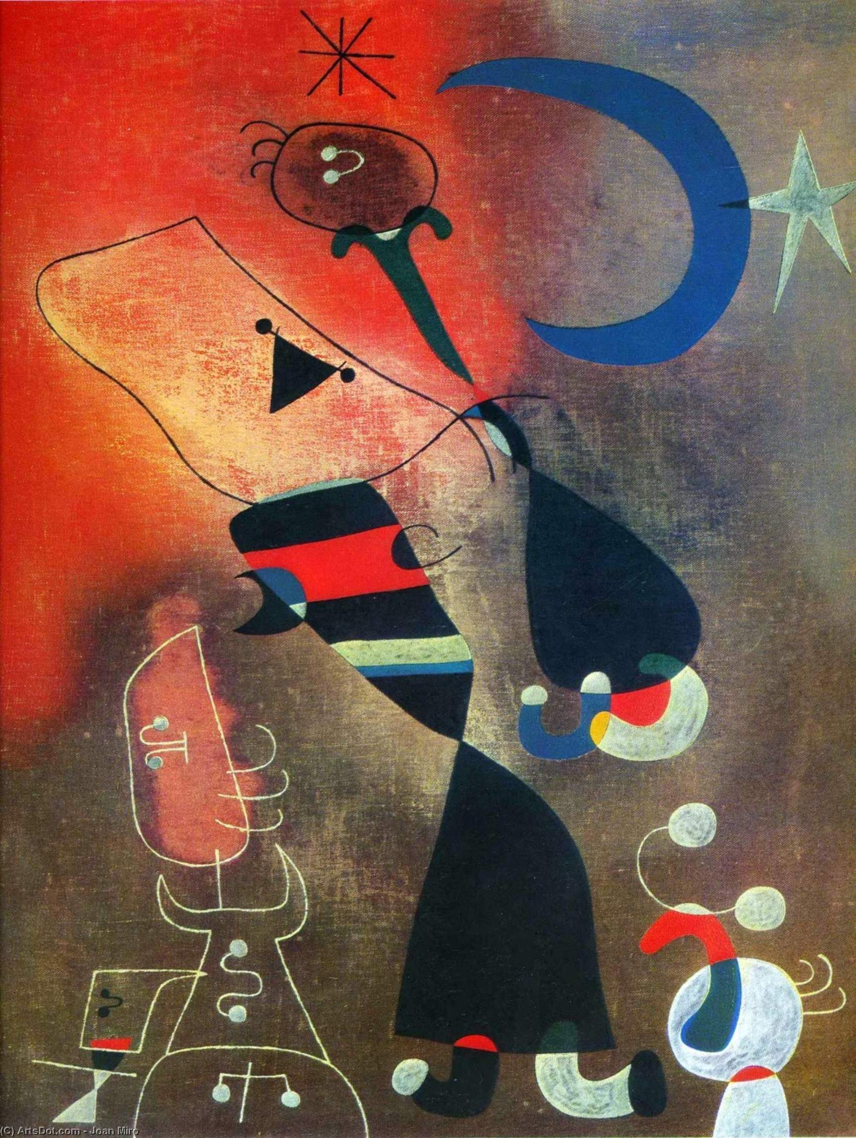 Woman and Bird in the Moonlight, 1949 by Joan Miro (1893-1983, Spain)