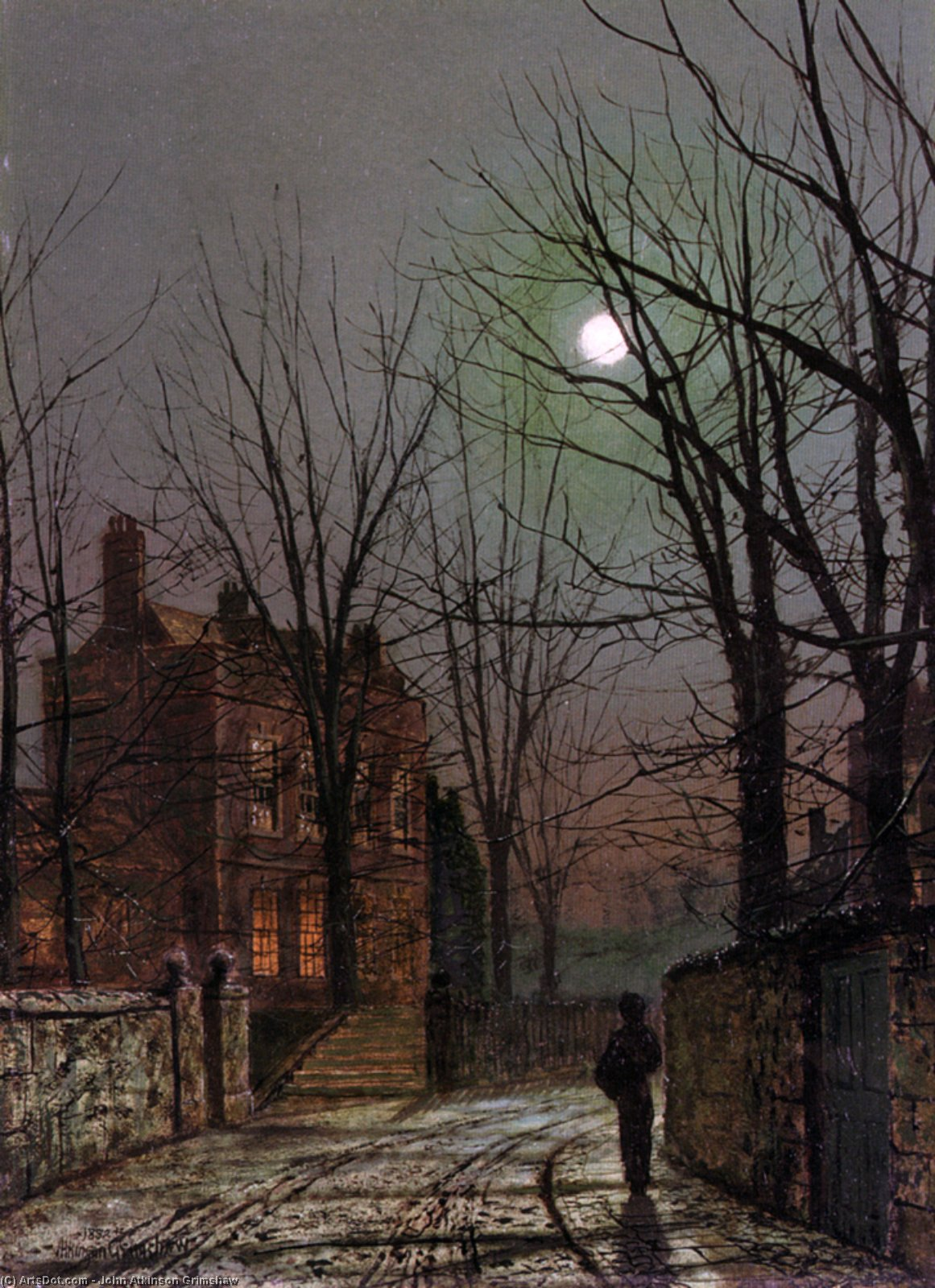Moonlight, Oil On Panel by John Atkinson Grimshaw (1836-1893, United Kingdom)