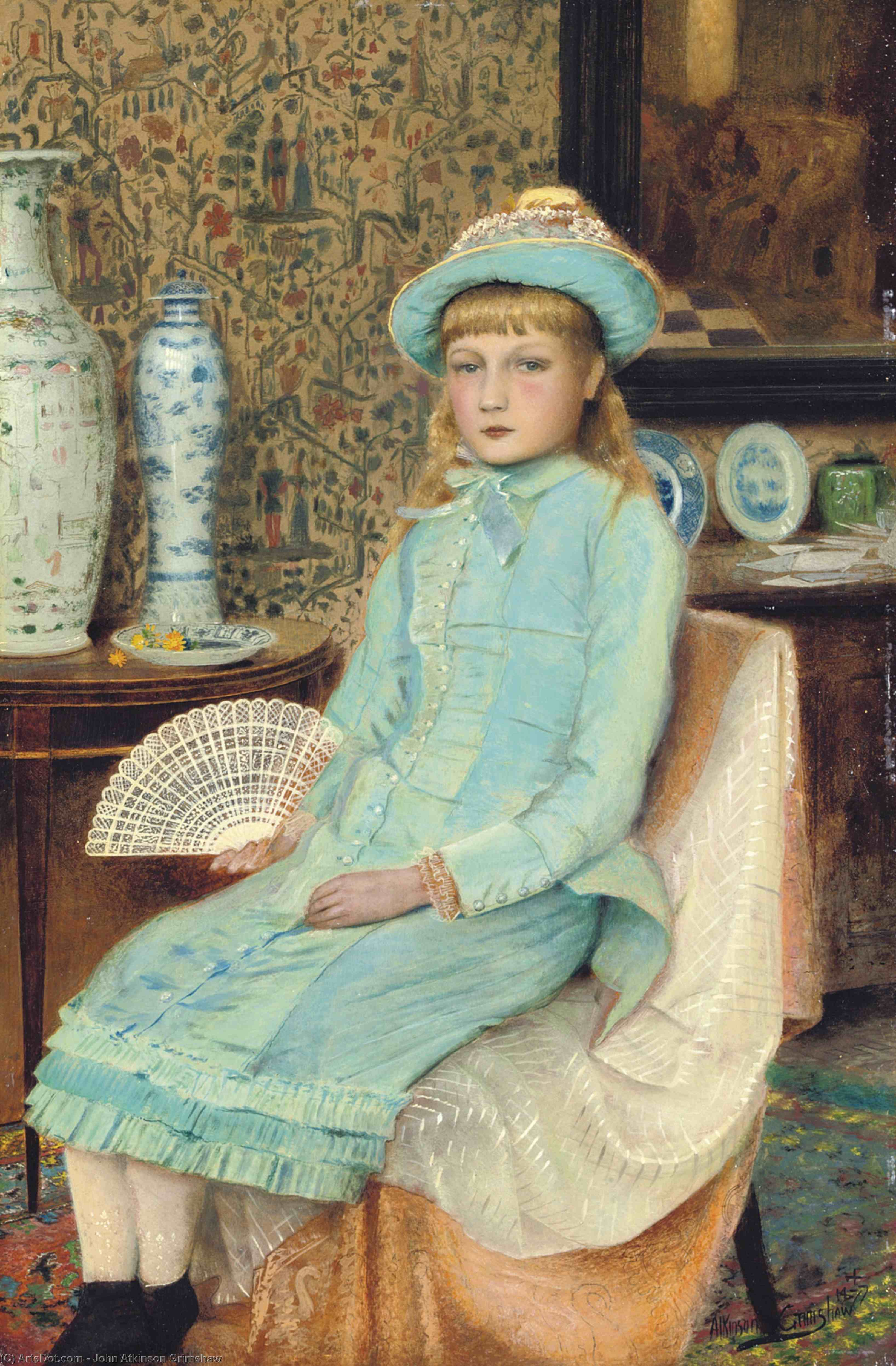 Blue Belle, 1877 by John Atkinson Grimshaw (1836-1893, United Kingdom) | Oil Painting | ArtsDot.com