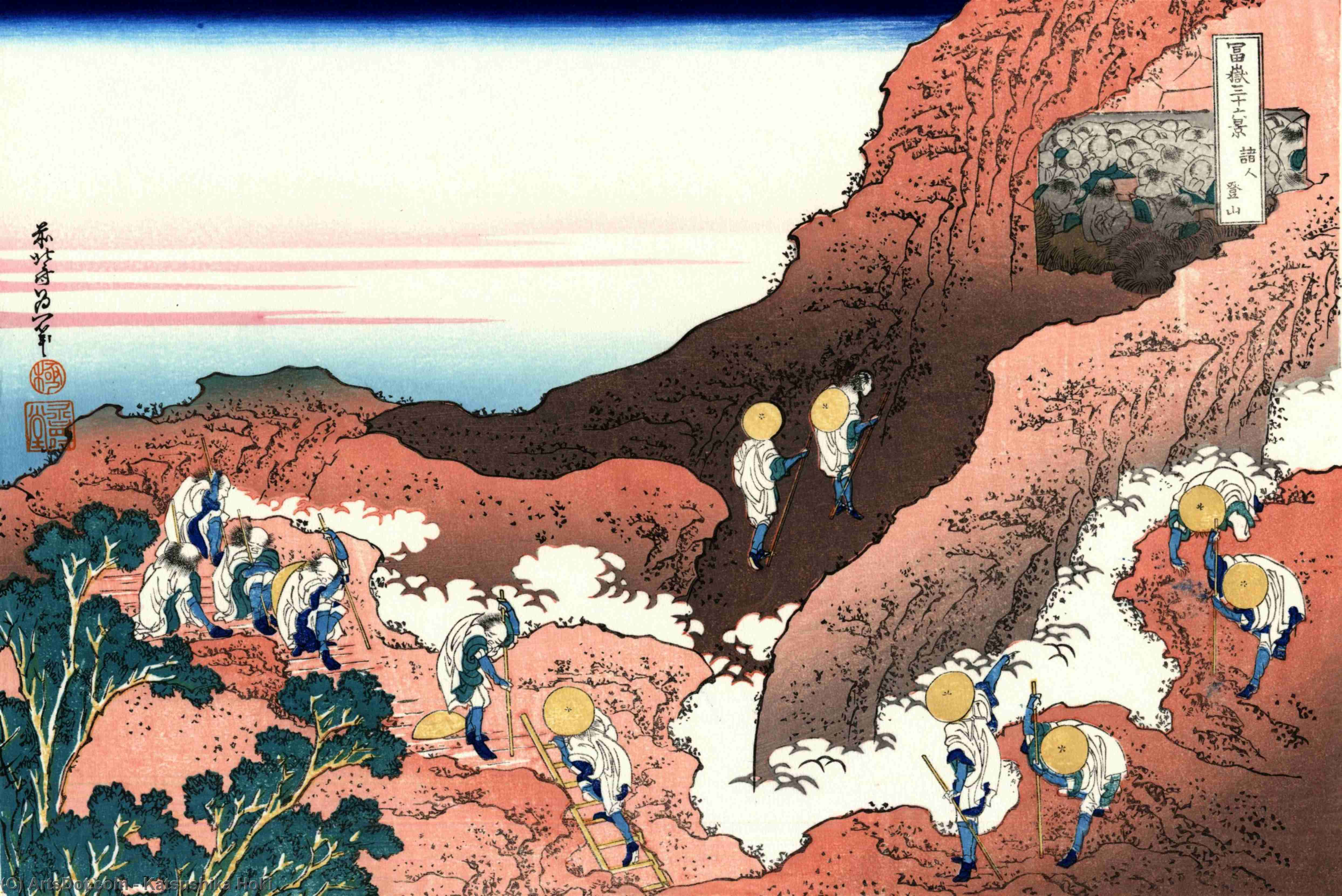 Climbing on Mt. Fuji by Katsushika Hokusai (1760-1849, Japan)