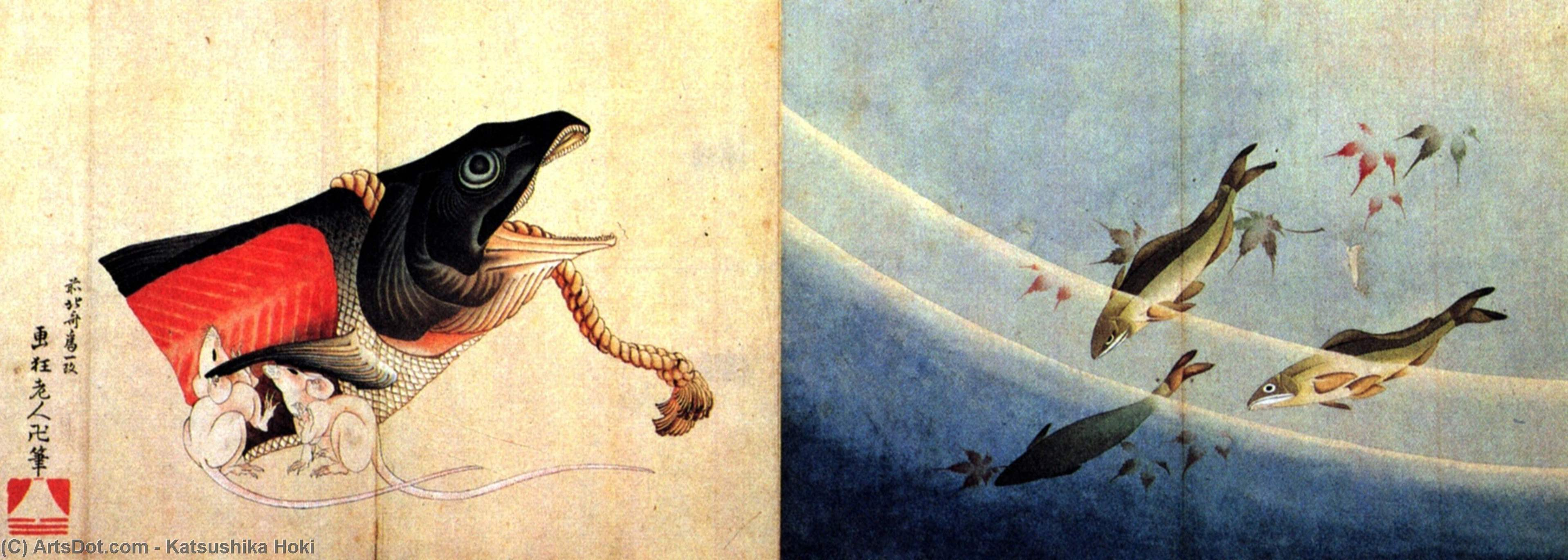 Salted salmond and mice by Katsushika Hokusai (1760-1849, Japan)