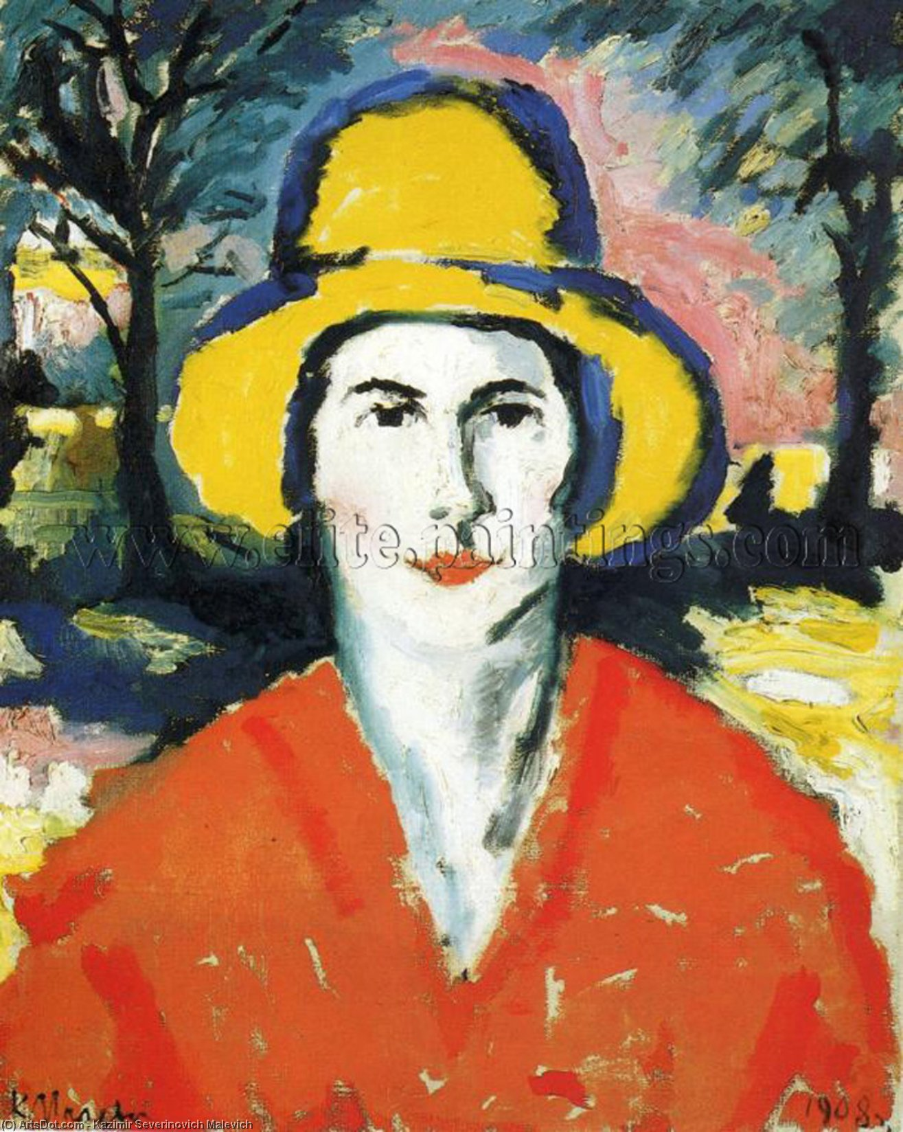 Portrait of Woman in Yellow Hat, 1930 by Kazimir Severinovich Malevich (1879-1935, Ukraine) | Museum Art Reproductions | ArtsDot.com