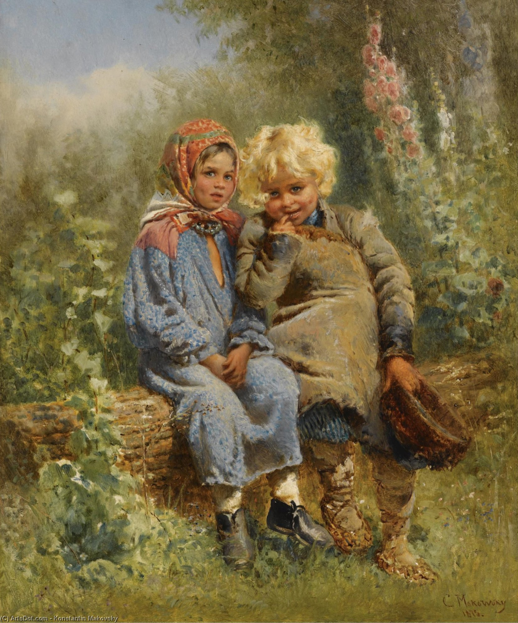 Peasant Children at rest, Oil On Panel by Konstantin Yegorovich Makovsky (1839-1915, Russia)