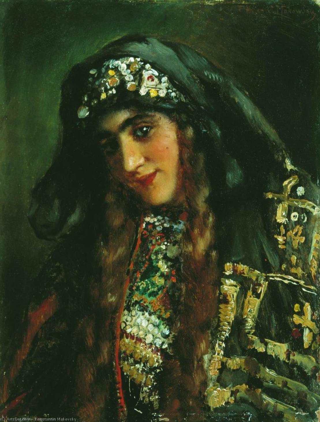 Girl in Oriental Dress, 1870 by Konstantin Yegorovich Makovsky (1839-1915, Russia) | ArtsDot.com