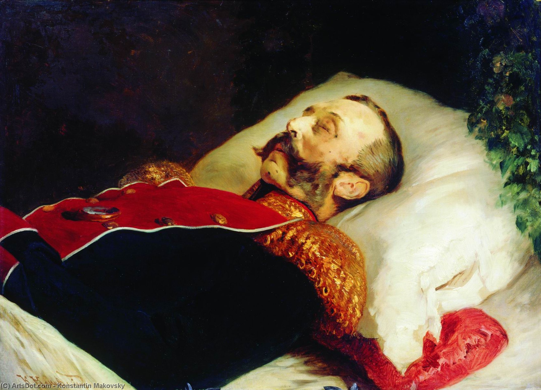 Emperor Alexander II on His Deathbed, Oil On Canvas by Konstantin Yegorovich Makovsky (1839-1915, Russia)