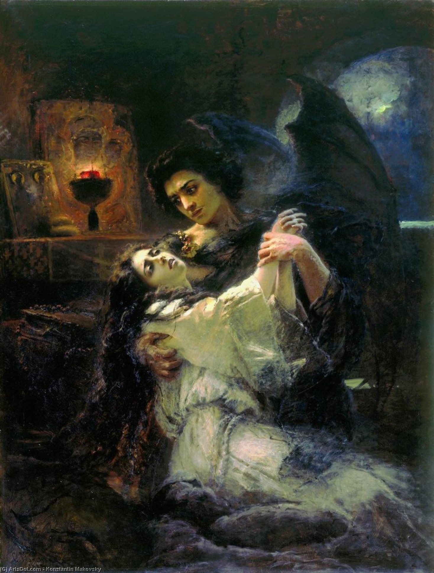 Tamara and Demon, 1889 by Konstantin Yegorovich Makovsky (1839-1915, Russia)