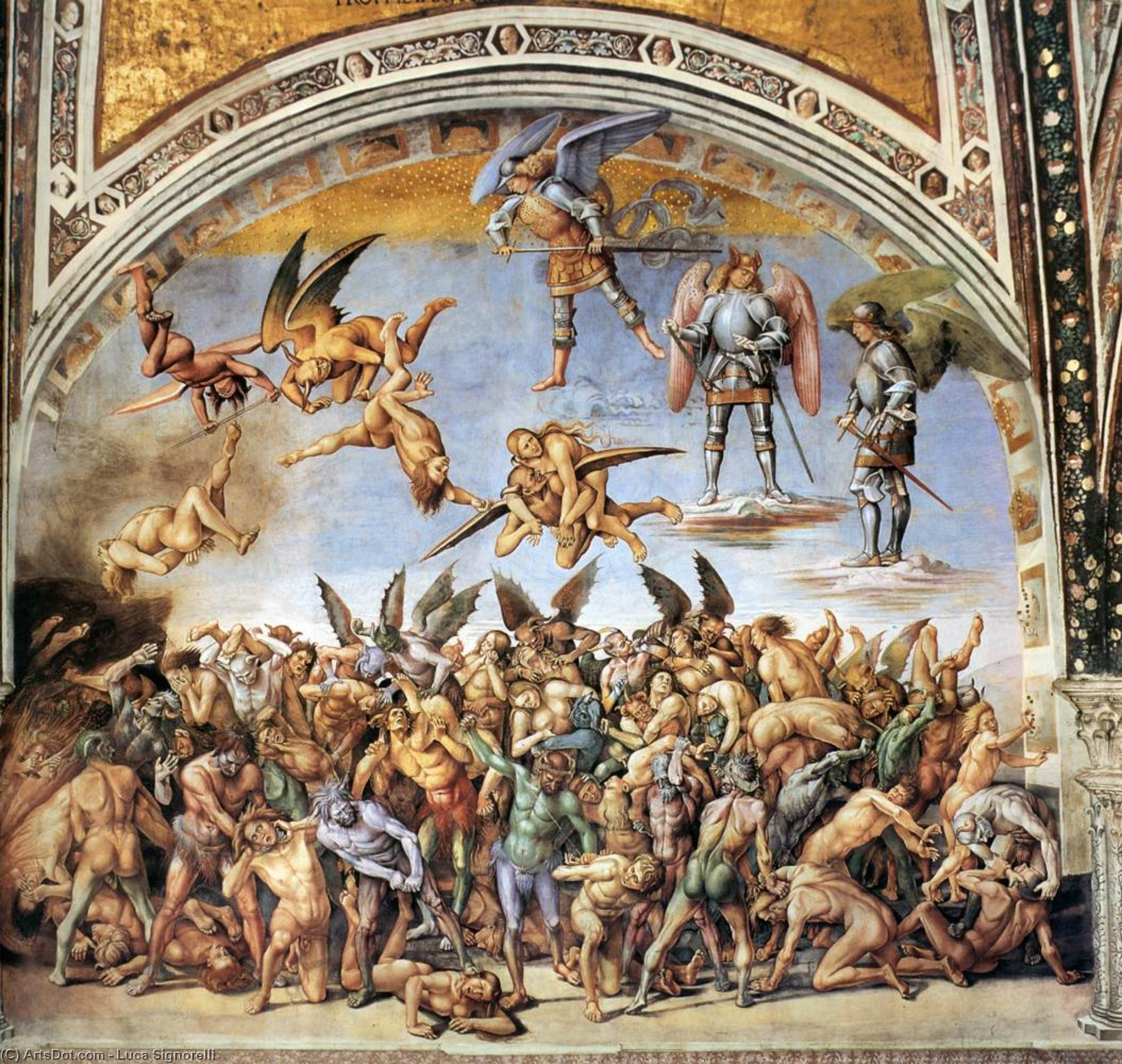 The Hell, Frescoes by Luca Signorelli (1445-1523, Italy)