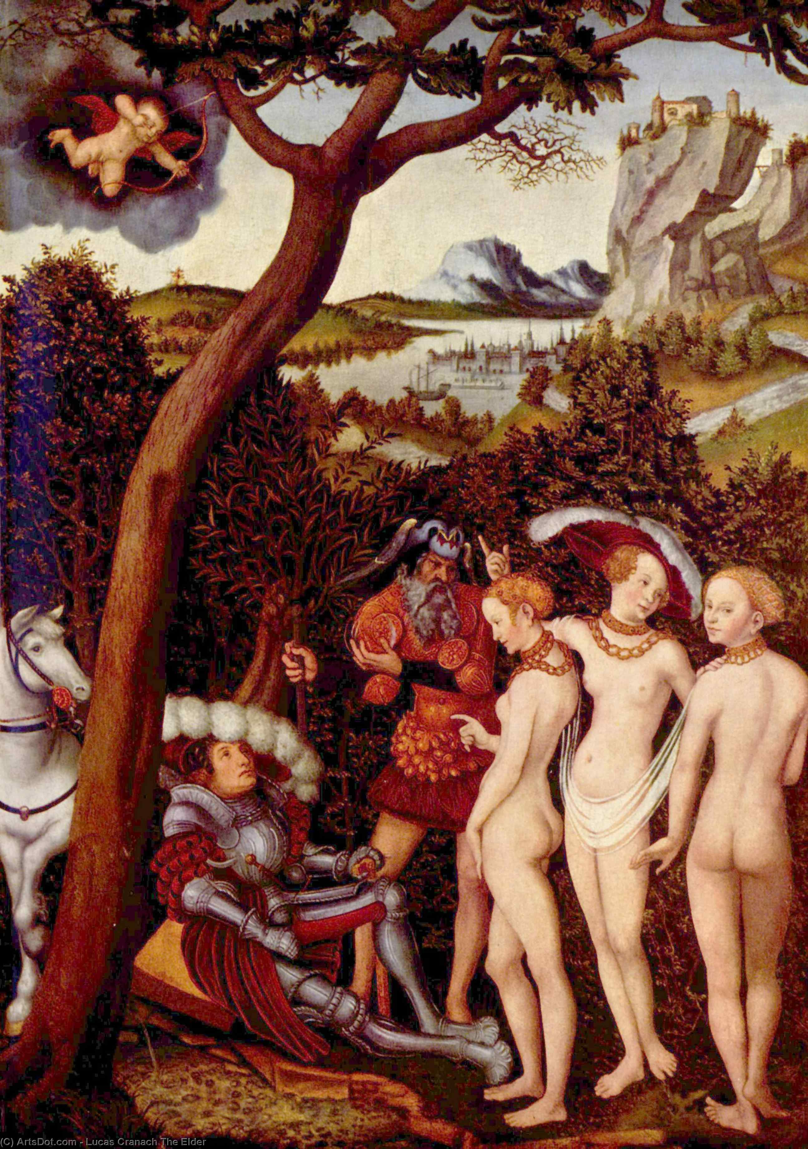 The Judgement of Paris, Oil On Panel by Lucas Cranach The Elder (1472-1553, Germany)