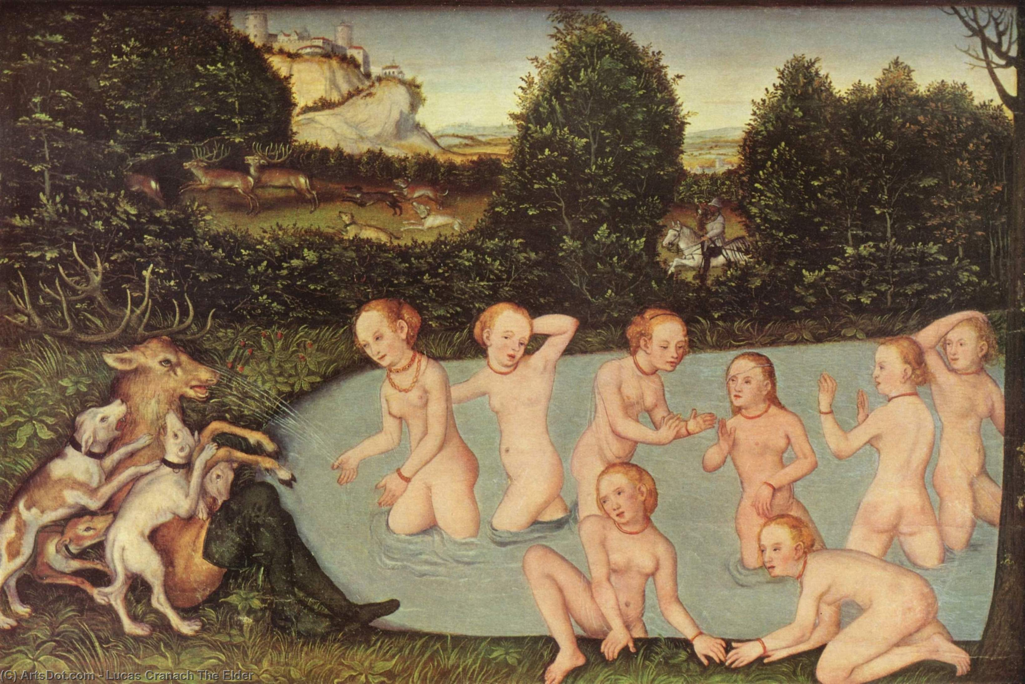 Diana and Actaeon, Oil by Lucas Cranach The Elder (1472-1553, Germany)