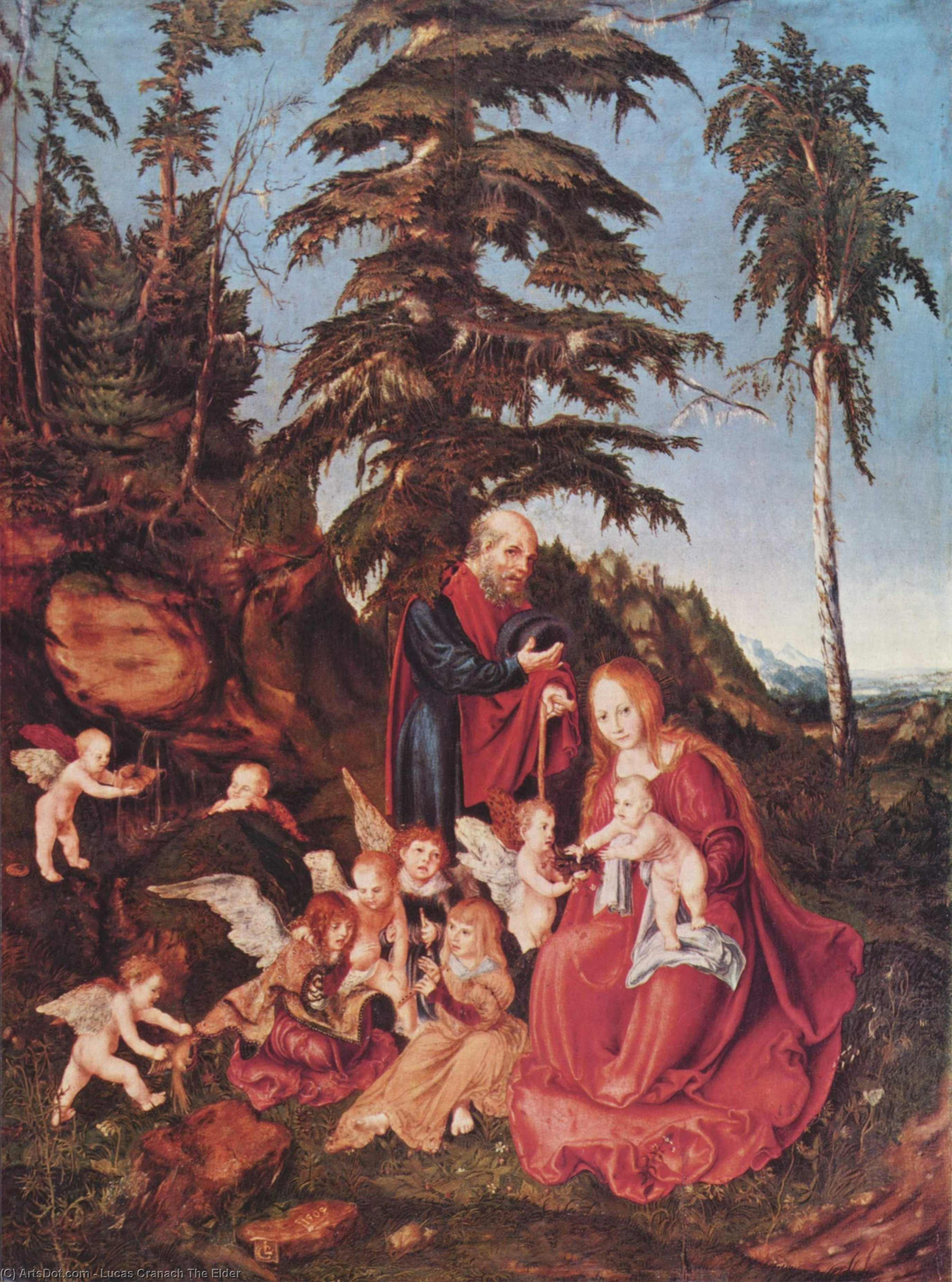 Rest on the Flight into Egypt, Oil On Panel by Lucas Cranach The Elder (1472-1553, Germany)