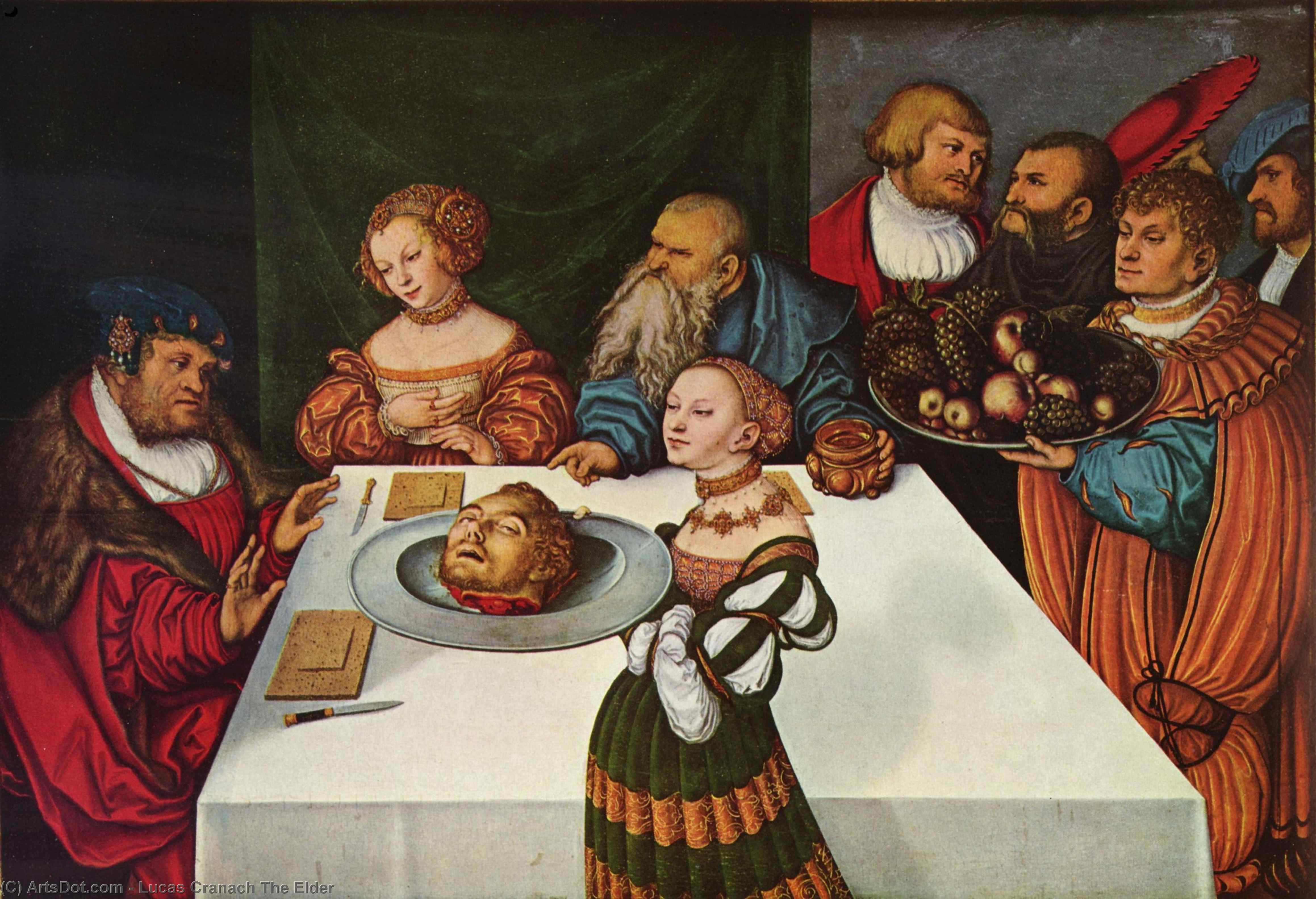 Feast of Herod, Oil by Lucas Cranach The Elder (1472-1553, Germany)