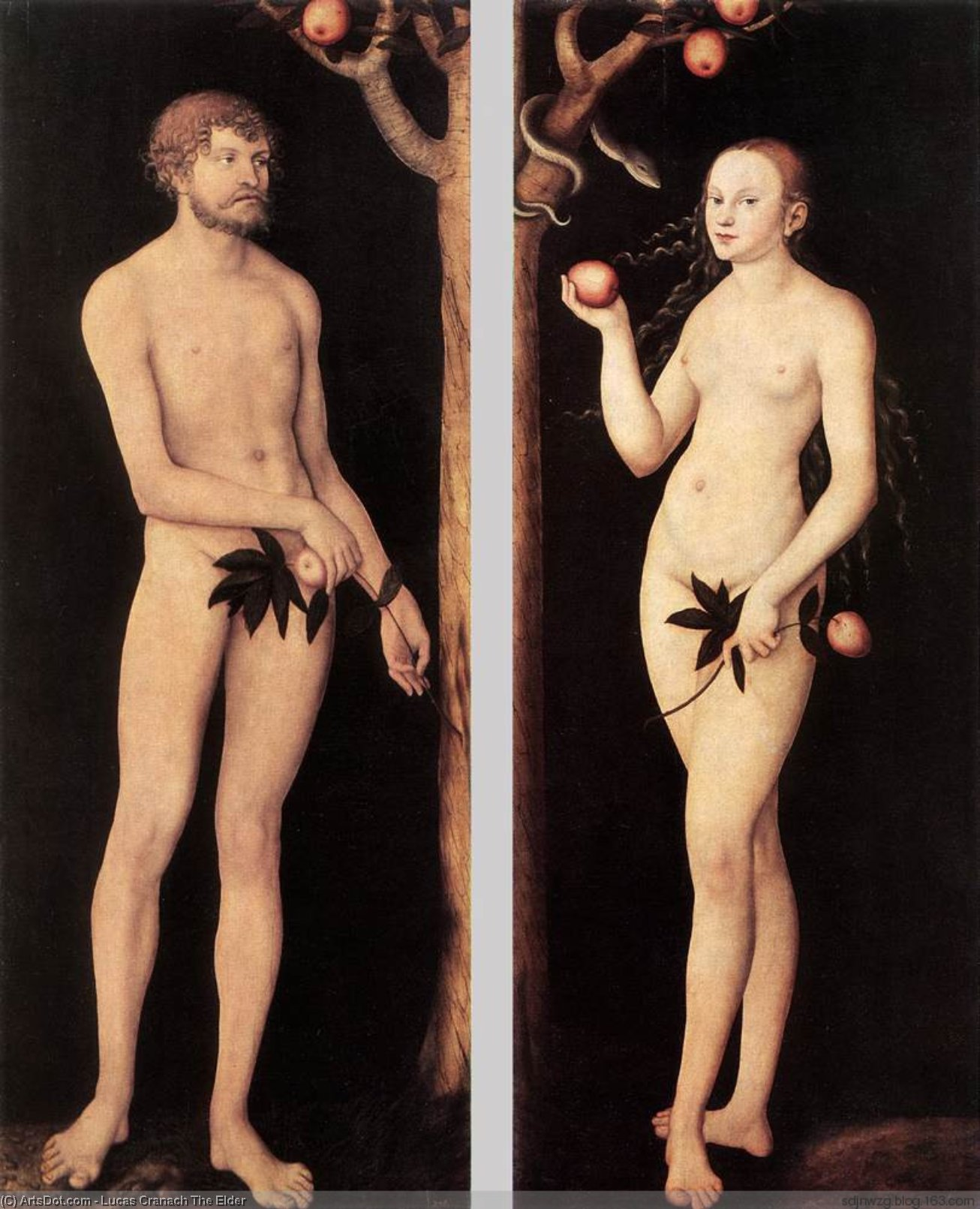 Adam and Eve, Oil by Lucas Cranach The Elder (1472-1553, Germany)