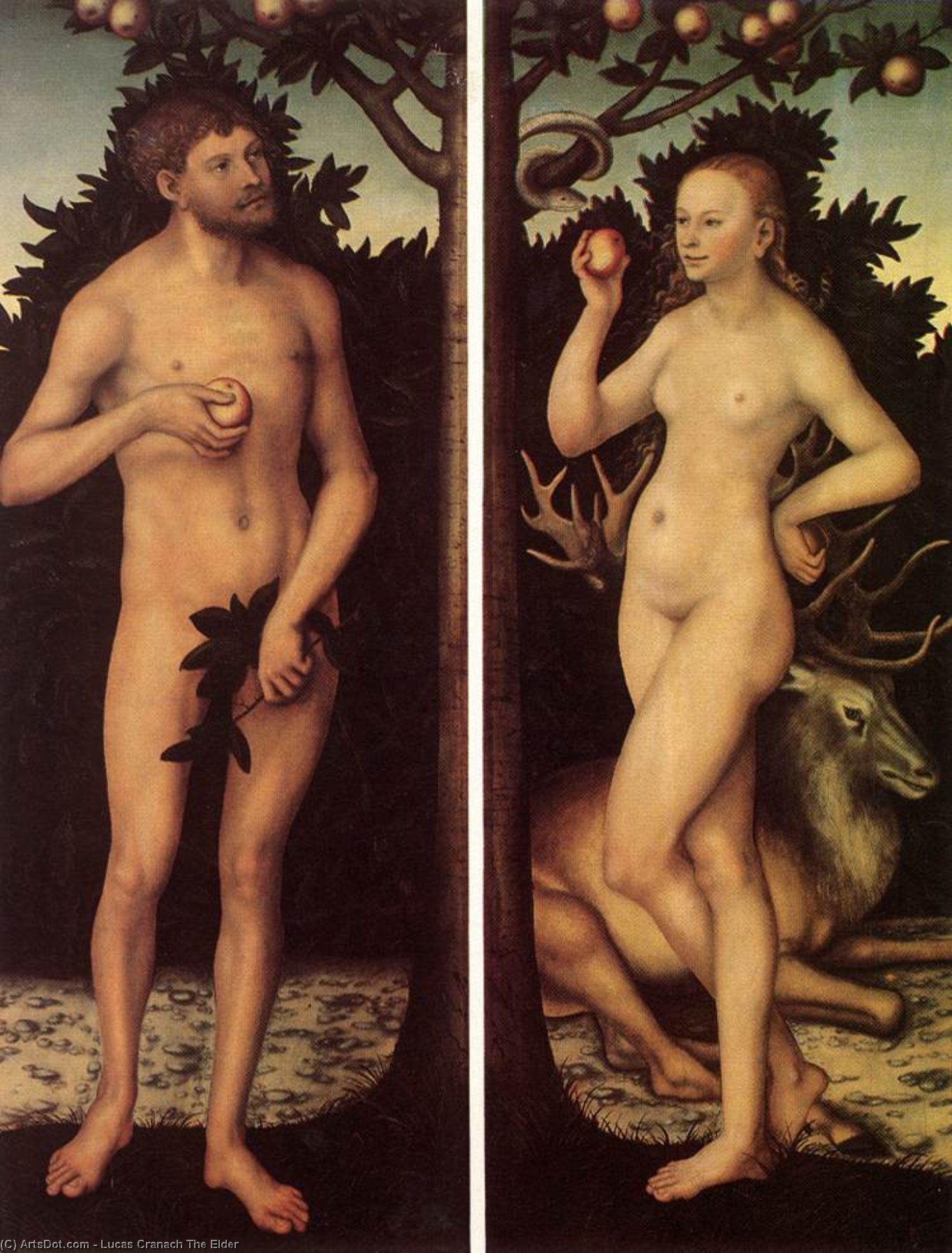 Adam and Eve (8), Oil On Panel by Lucas Cranach The Elder (1472-1553, Germany)
