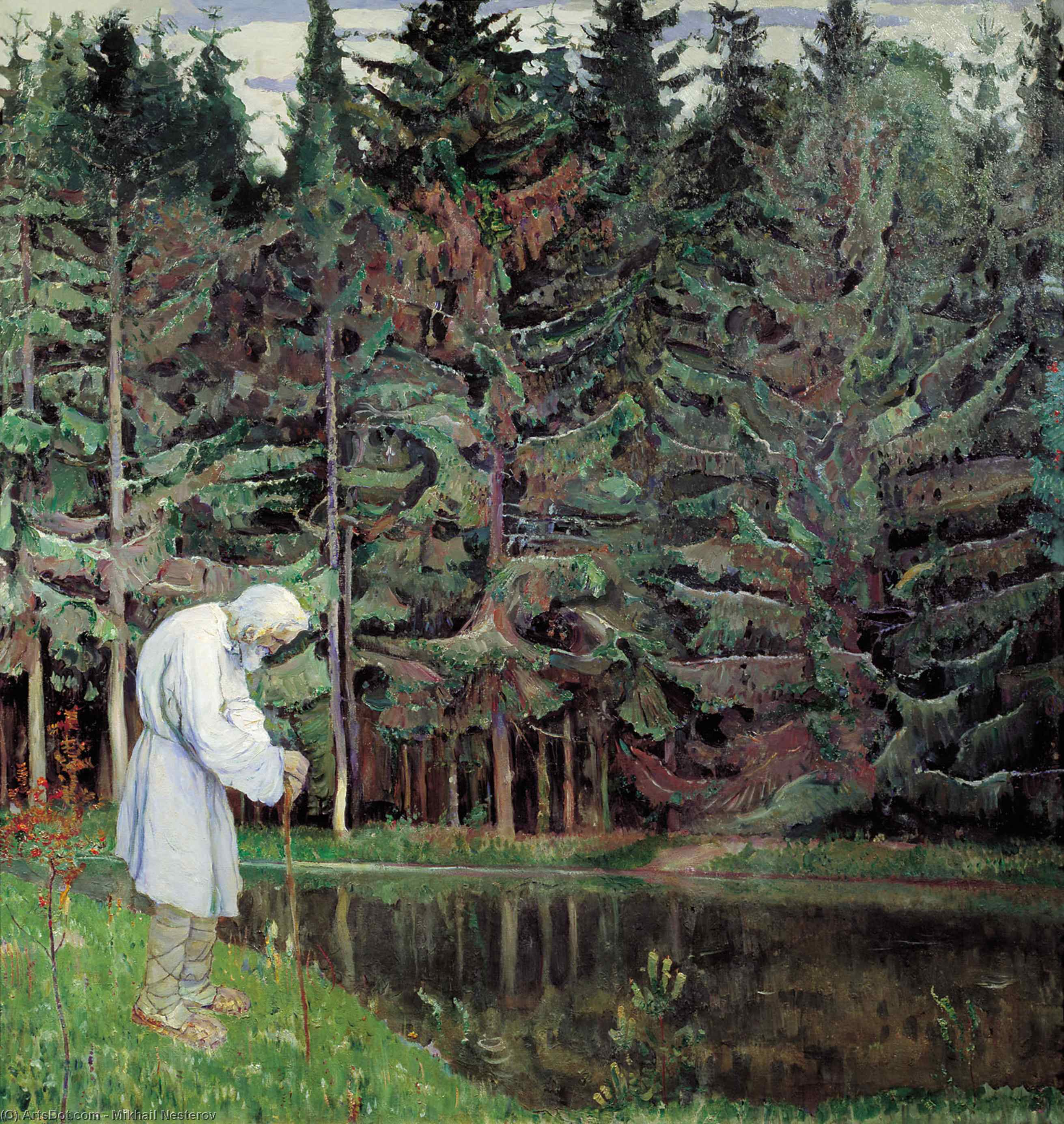 Elder (Abraham, the Servant of God), Oil On Canvas by Mikhail Nesterov (1862-1942, Russia)