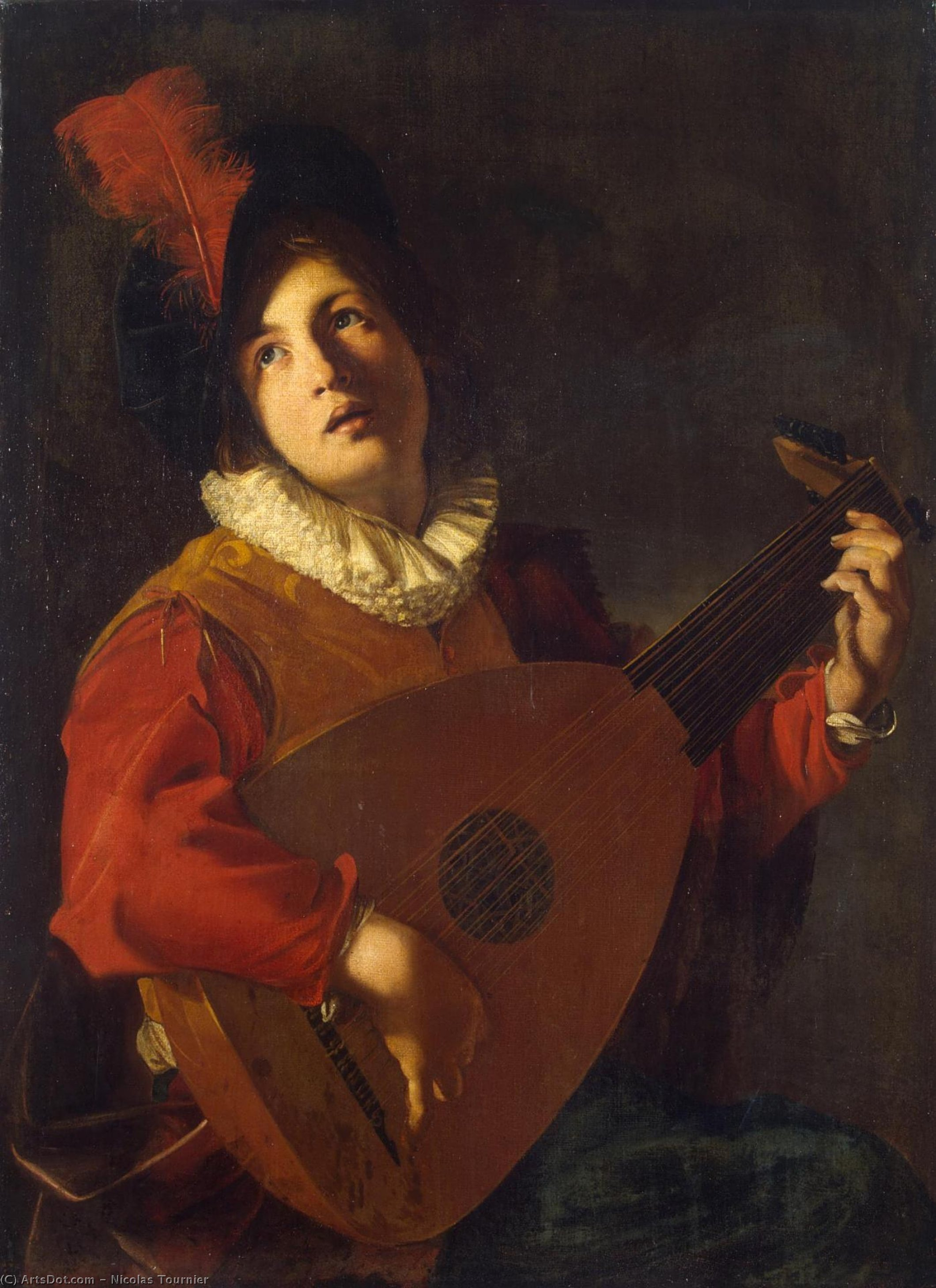 Lute Player, Oil On Canvas by Nicolas Tournier (1590-1639, France)