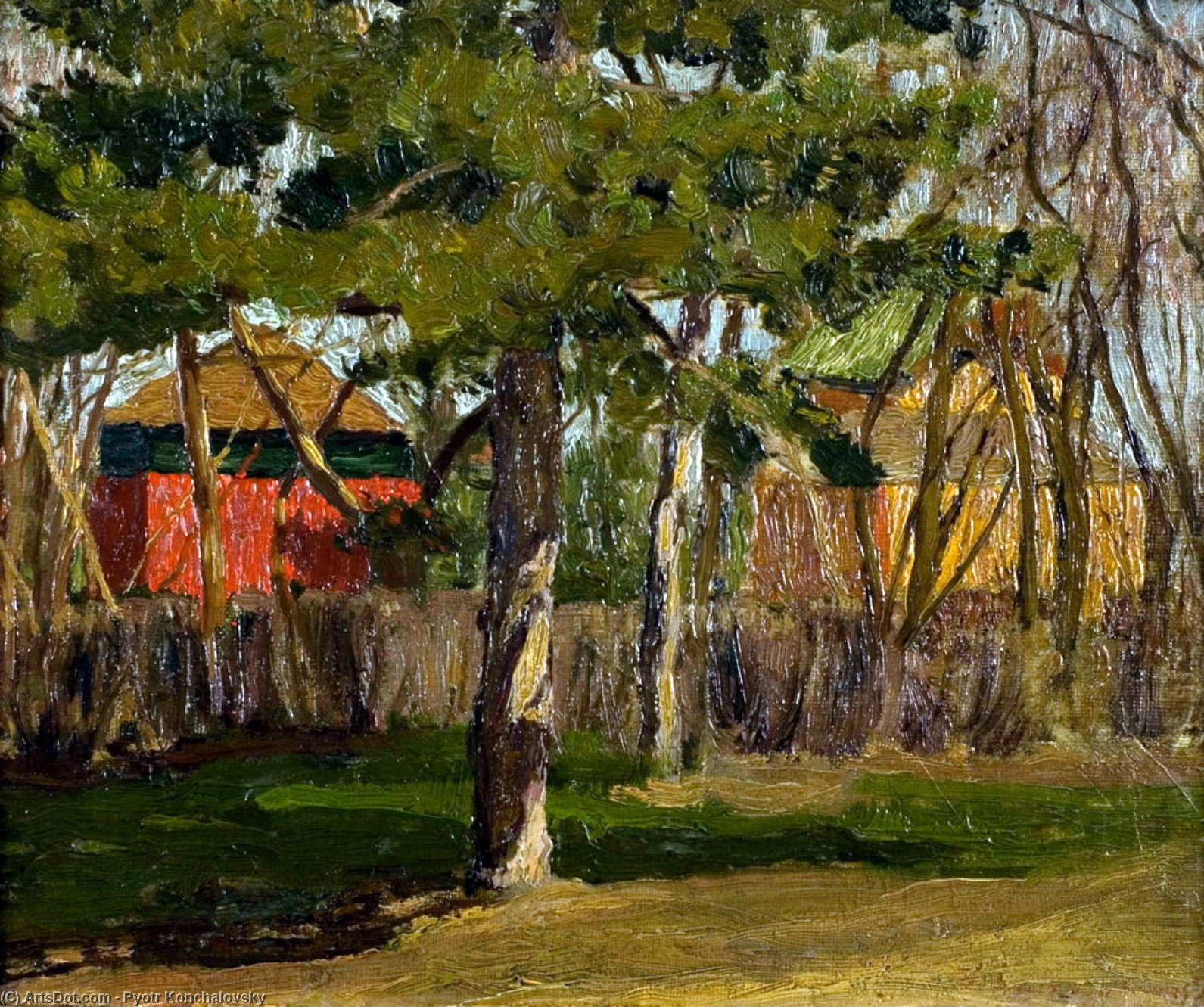 Cottages by Pyotr Konchalovsky (1876-1956, Russia) | Painting Copy | ArtsDot.com
