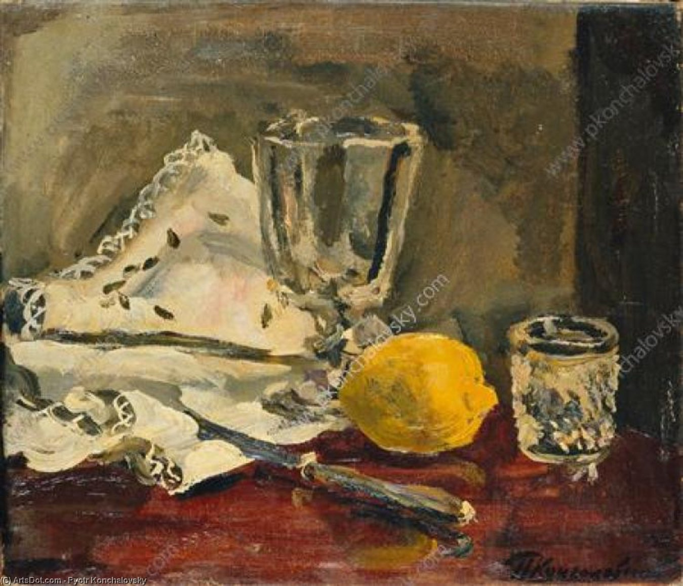 Still Life. Lemon and knife., 1930 by Pyotr Konchalovsky (1876-1956, Russia)