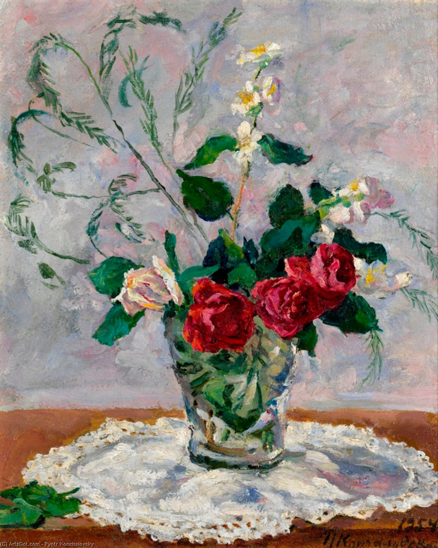 Still life with roses, jasmine and asparagus, 1954 by Pyotr Konchalovsky (1876-1956, Russia)