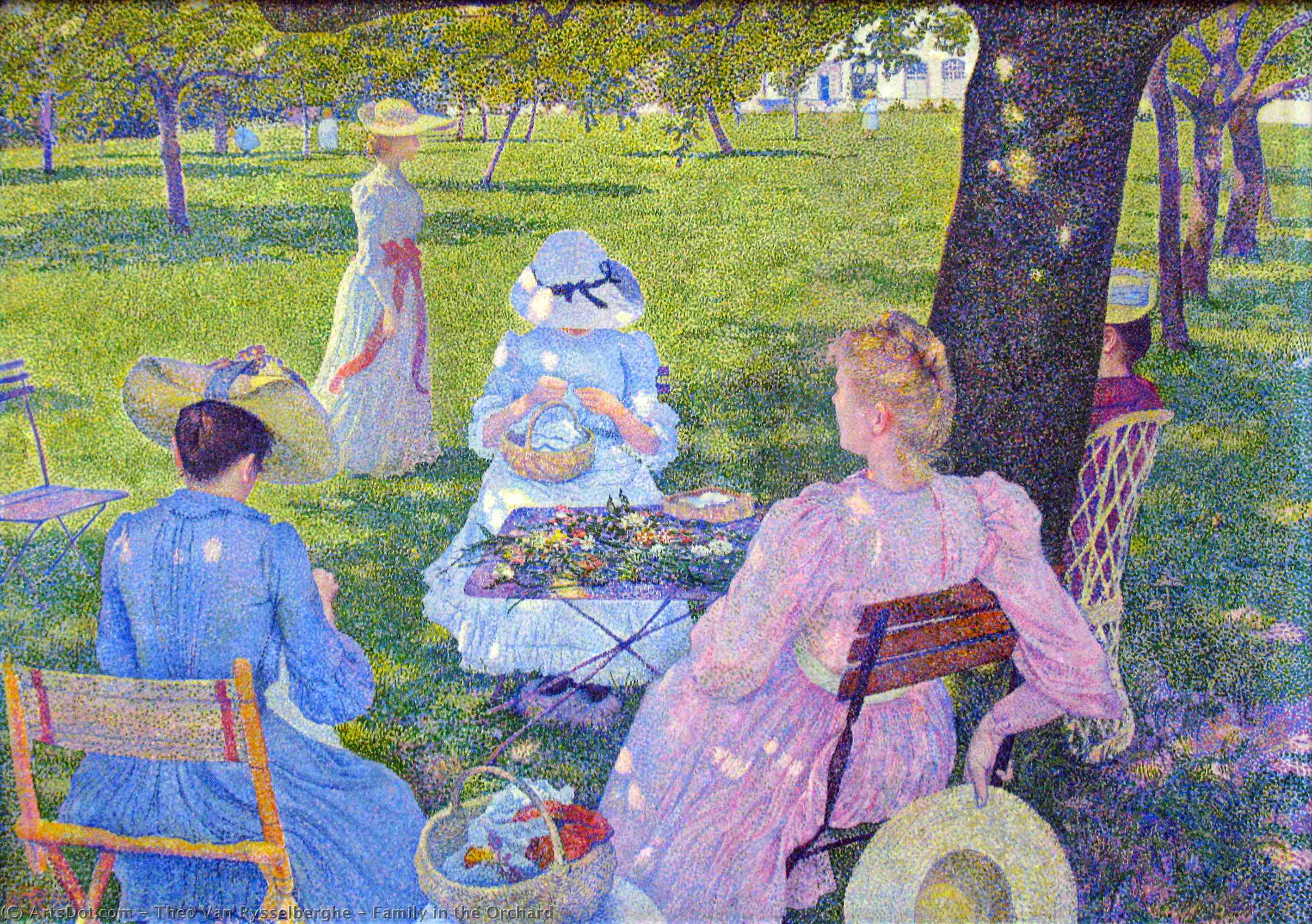 Family in the Orchard, 1890 by Theo Van Rysselberghe (1862-1926, Belgium) | Oil Painting | ArtsDot.com