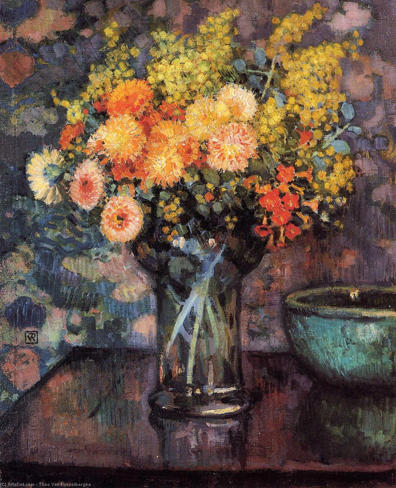 Vase of Flowers, Oil On Canvas by Theo Van Rysselberghe (1862-1926, Belgium)