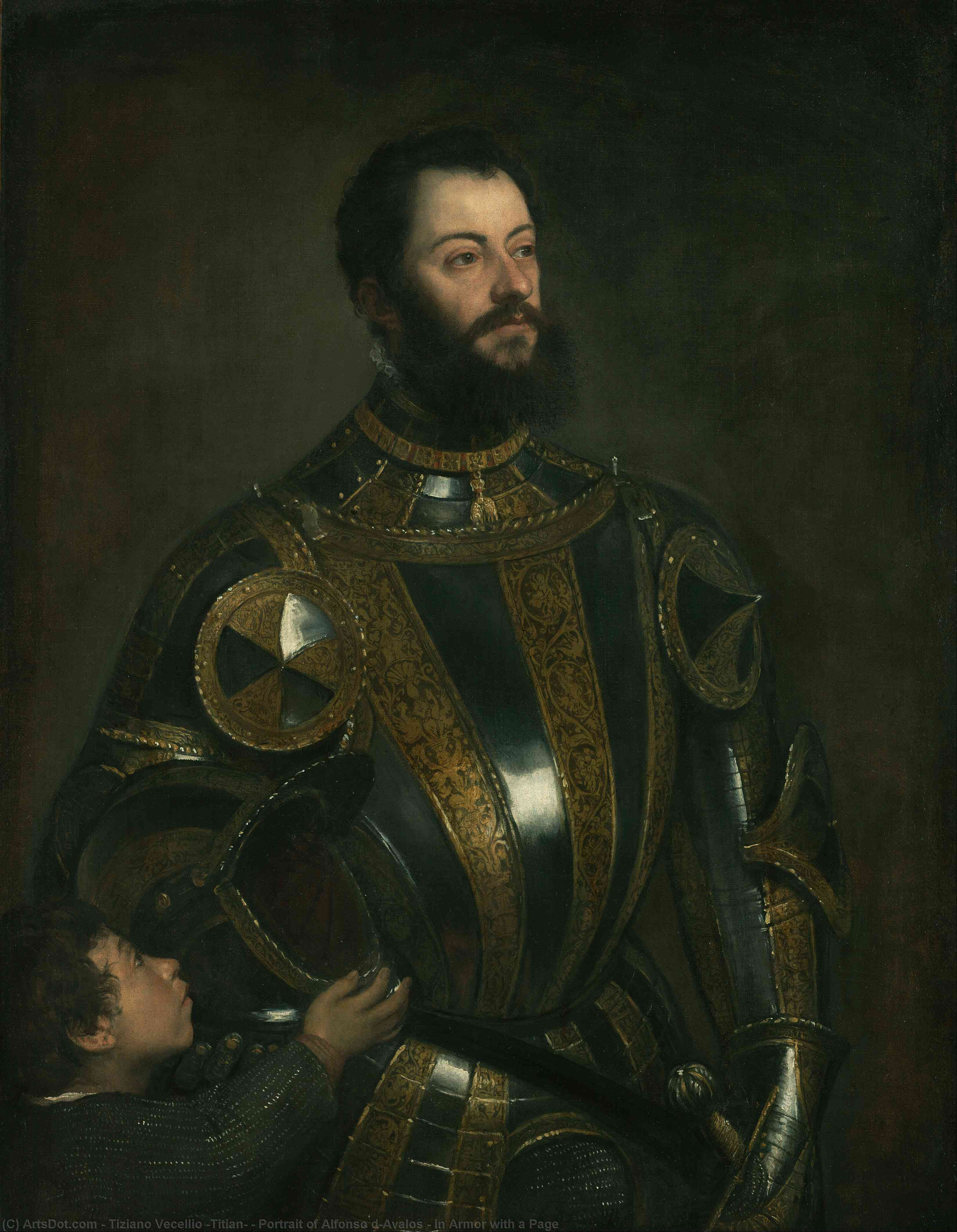 Portrait of Alfonso d`Avalos , in Armor with a Page, 1533 by Tiziano Vecellio (Titian) (1490-1576, Italy) | Museum Art Reproductions | ArtsDot.com