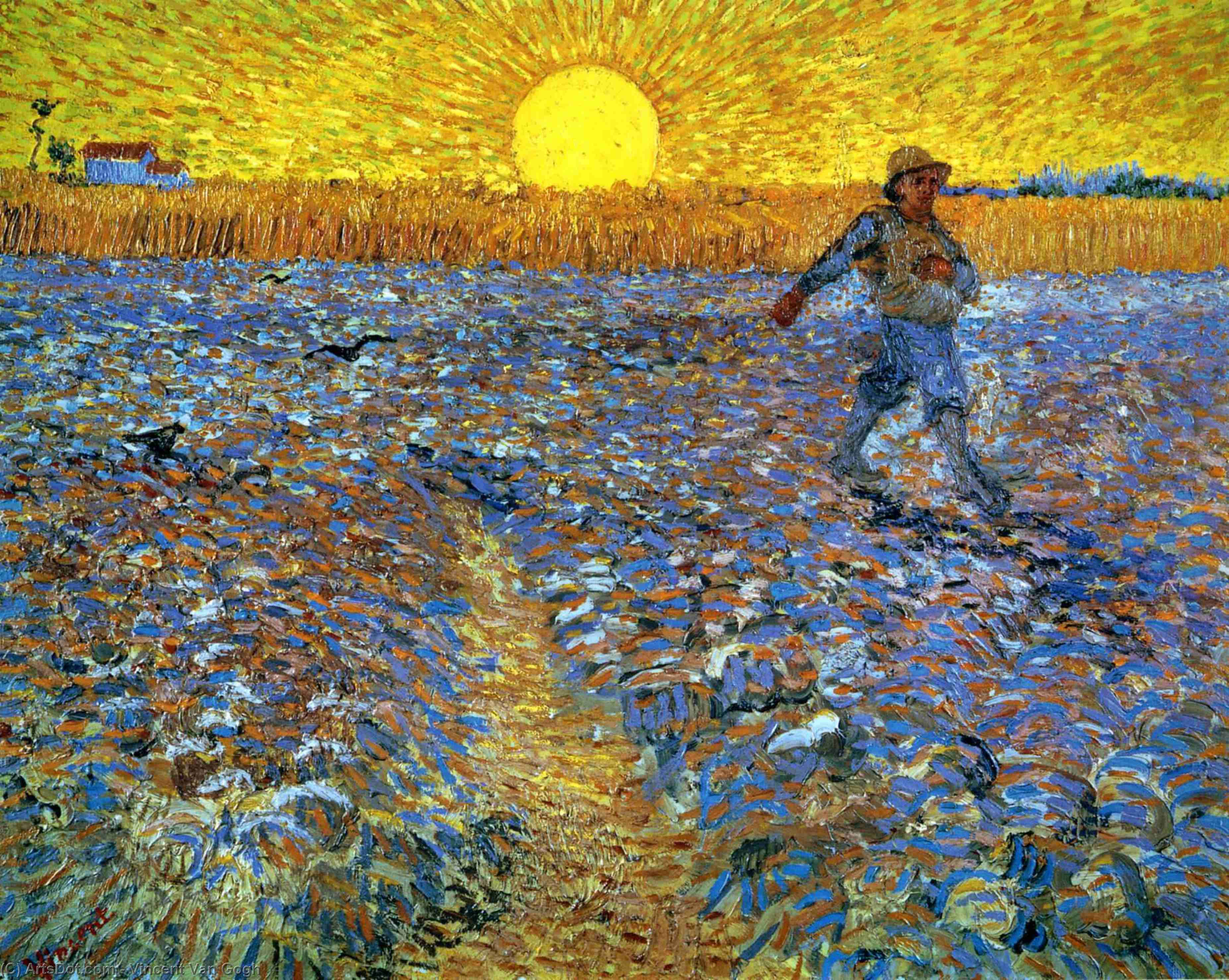 Order Reproductions | The Sower (Sower with Setting Sun), 1888 by Vincent Van Gogh (1853-1890, Netherlands) | ArtsDot.com