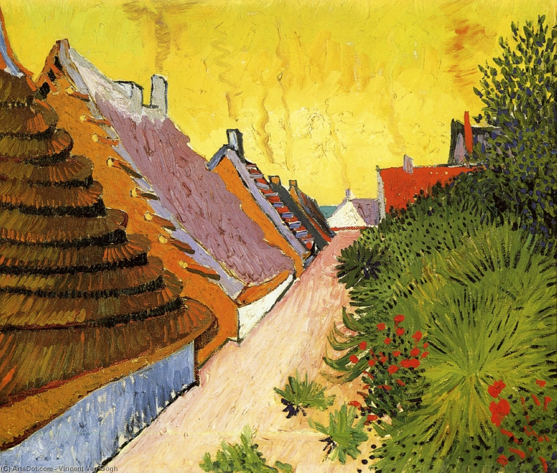 Street in Saintes-Maries, 1888 by Vincent Van Gogh (1853-1890, Netherlands) | Museum Art Reproductions Vincent Van Gogh | ArtsDot.com