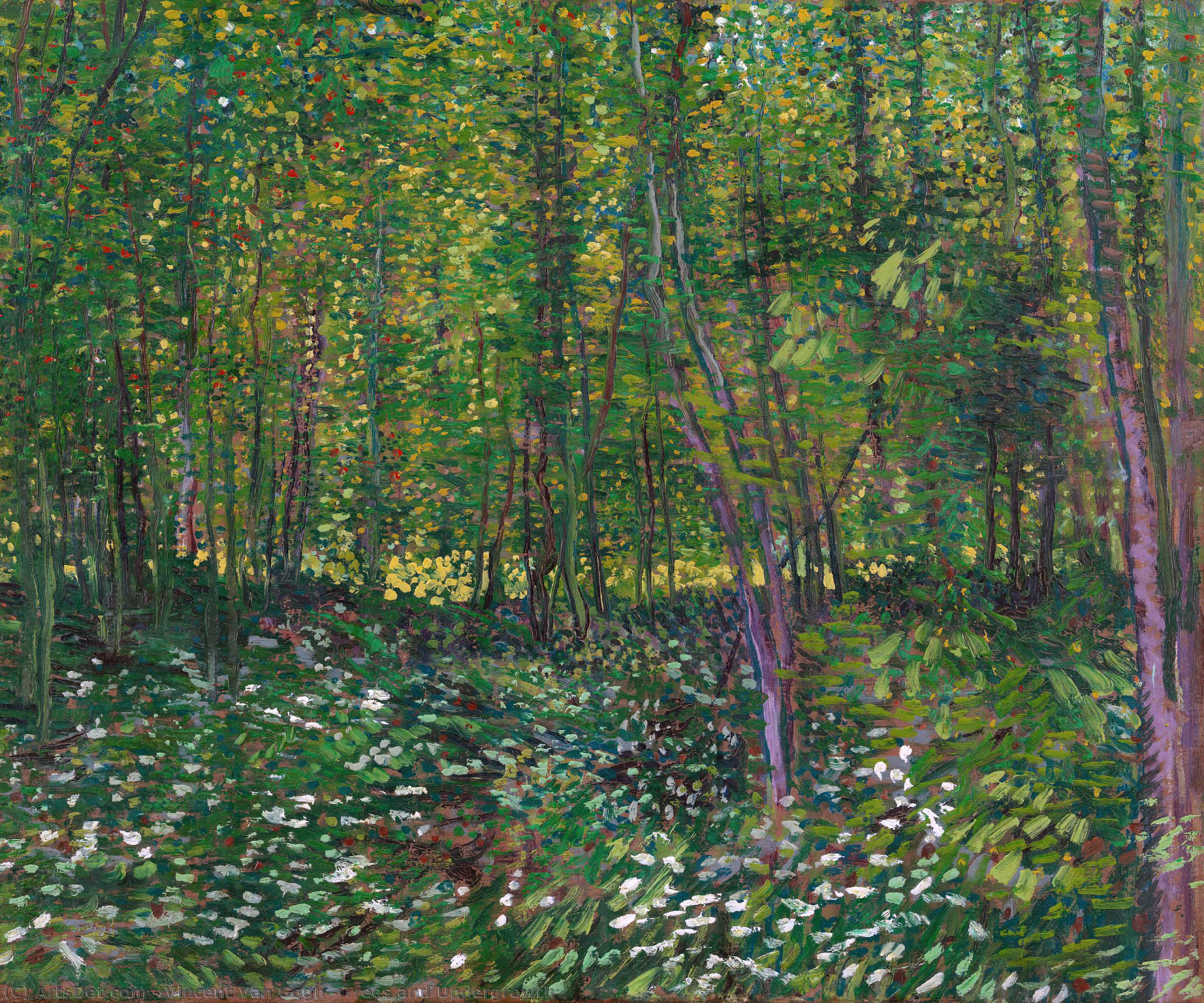 Order Reproductions | Trees and Undergrowth, 1887 by Vincent Van Gogh (1853-1890, Netherlands) | ArtsDot.com